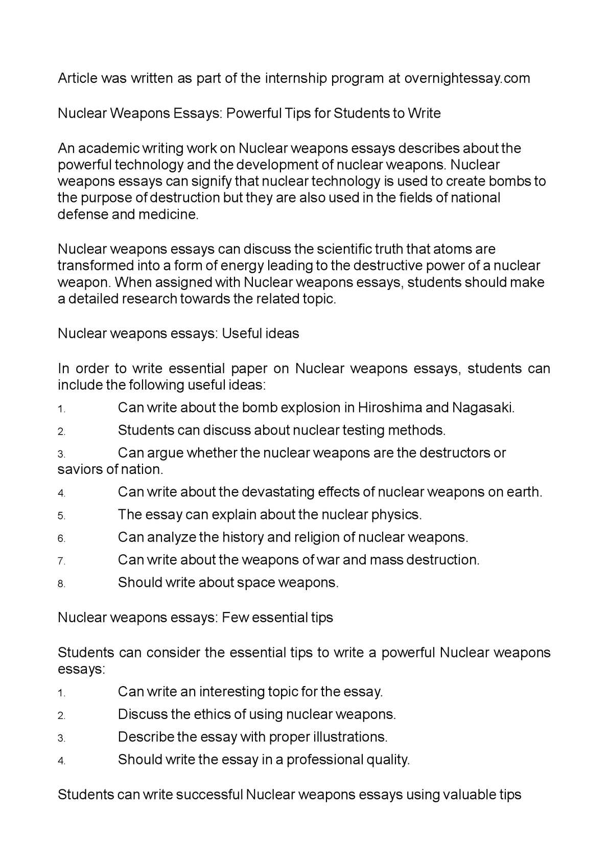 effects of nuclear weapons essay