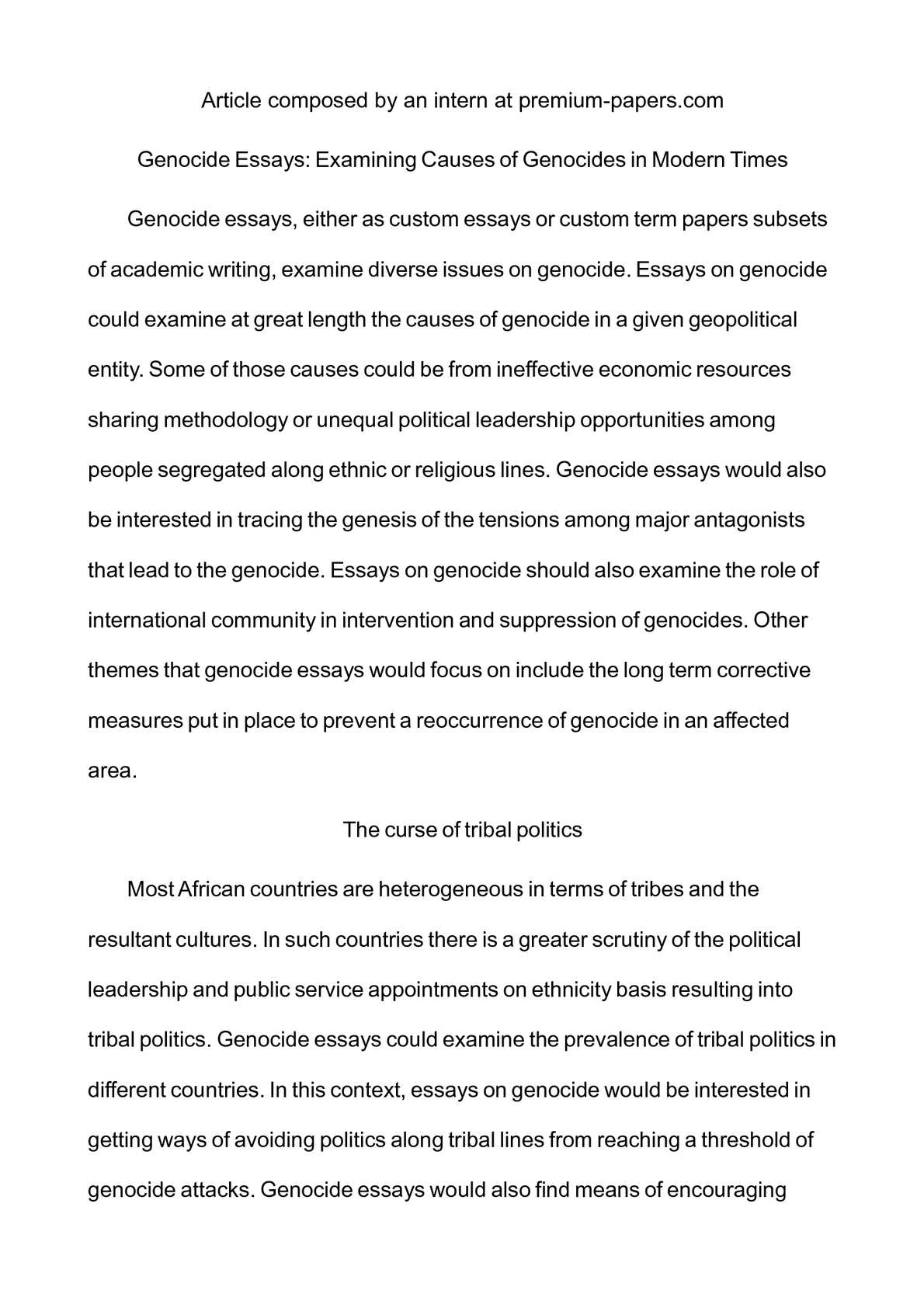 how to prevent genocide essay