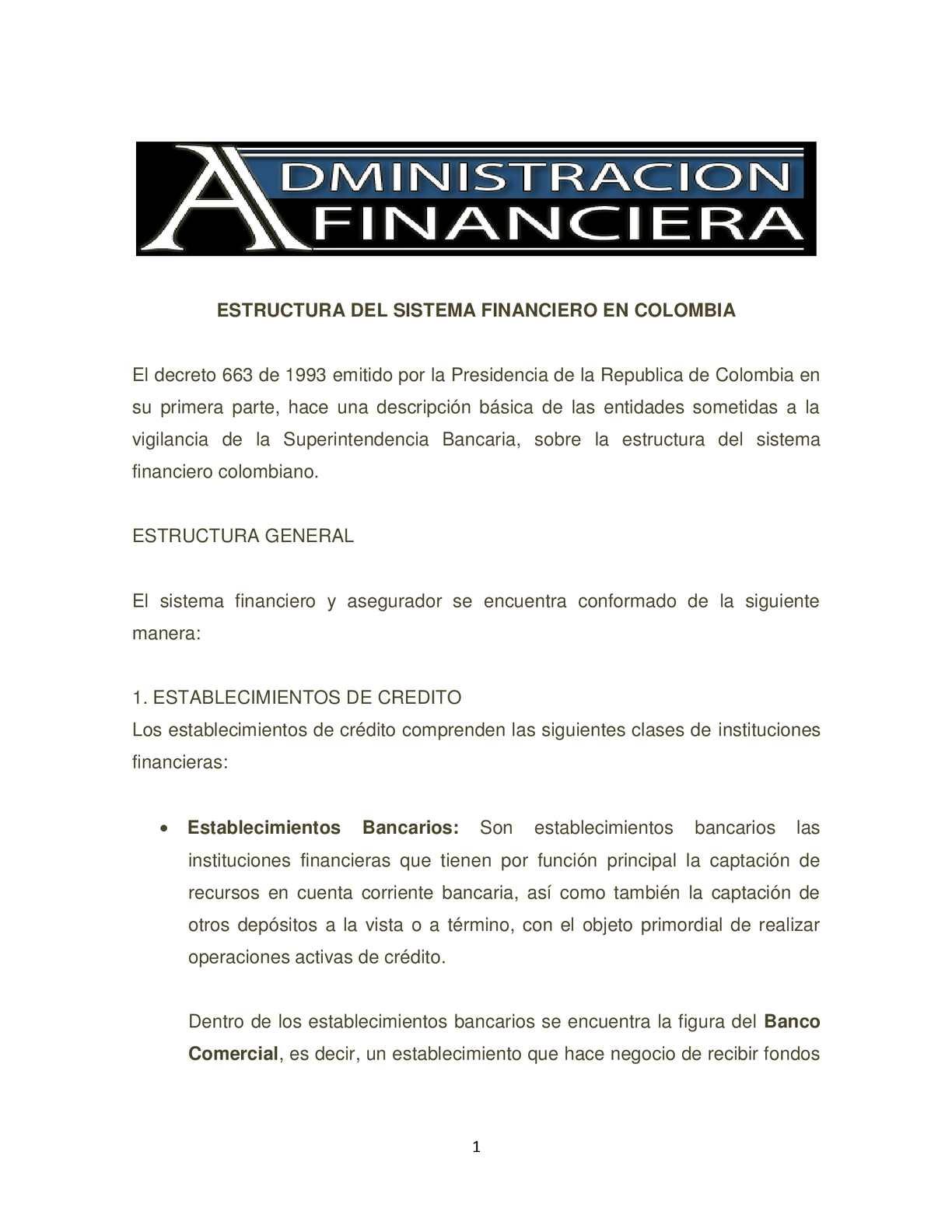Calaméo Estructura Del Sistema Financiero Colombiano