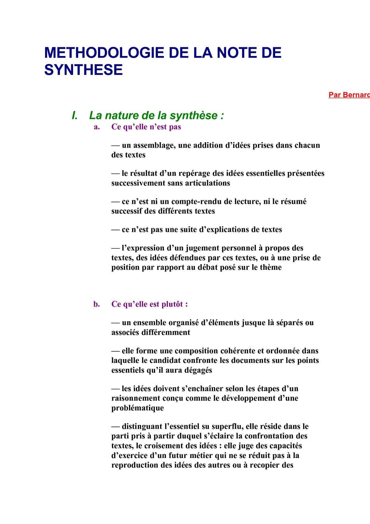 Rédaction D Une Note De Synthèse Exemple - Le Meilleur Exemple