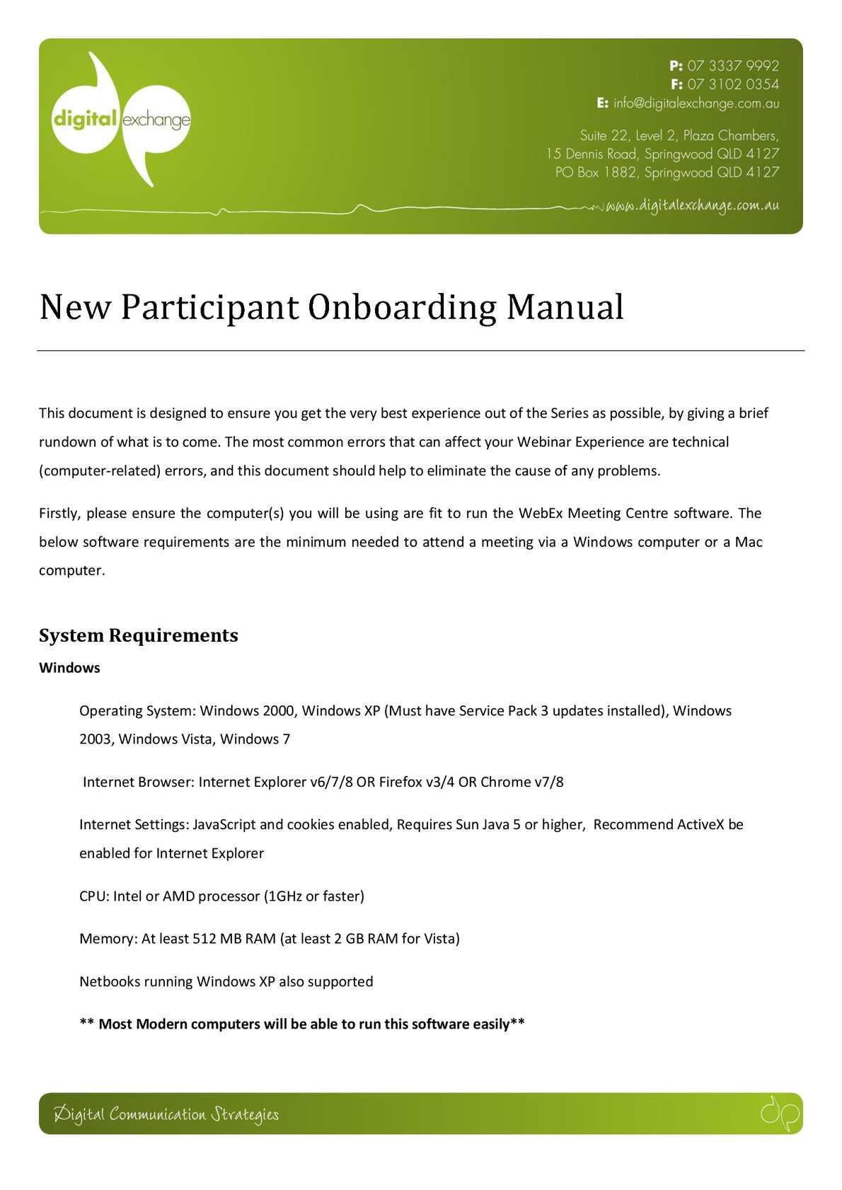 Calaméo - WebEx Onboarding Document