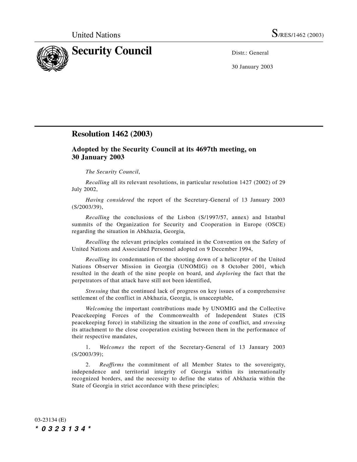 Calaméo - SC Res. 1462, 30 January 2003
