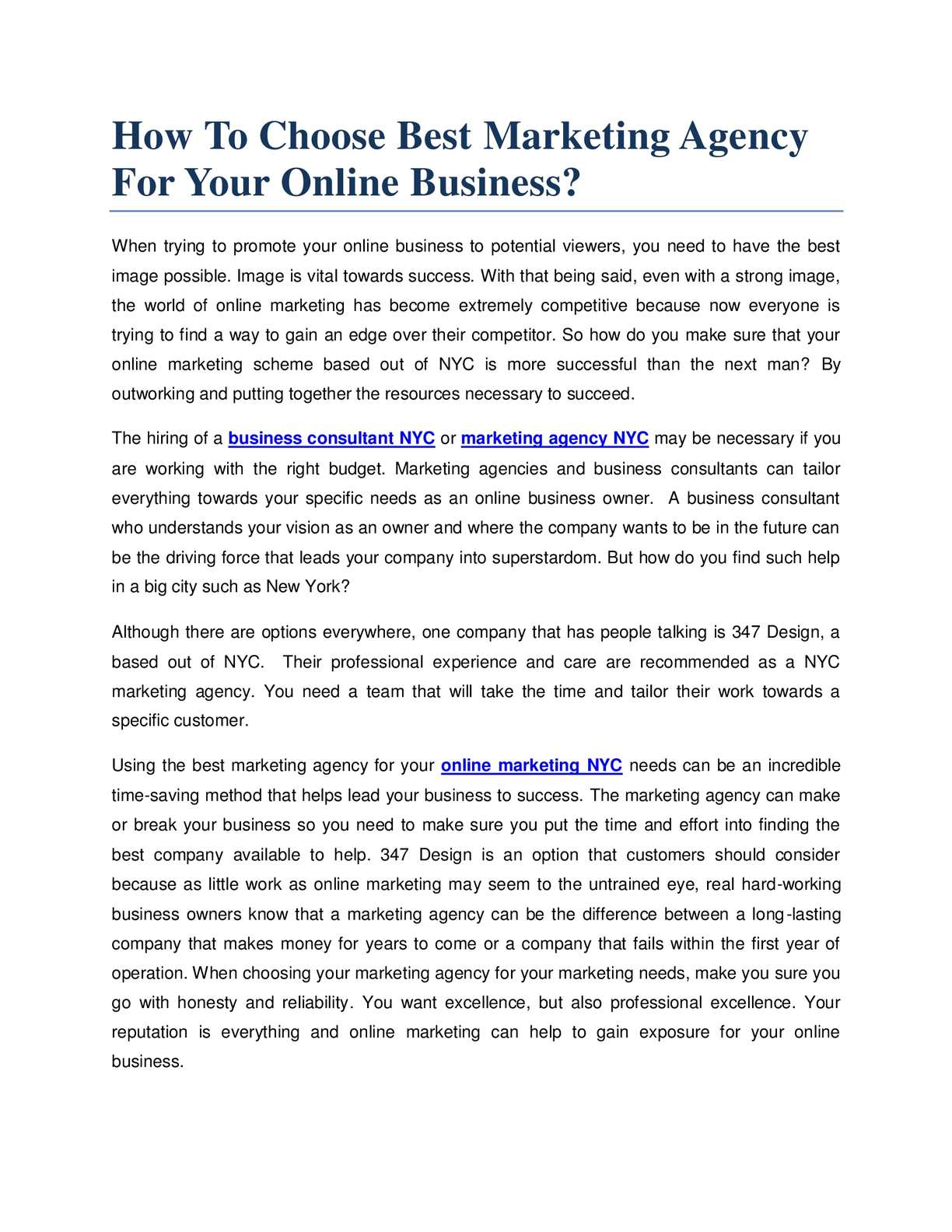 Calaméo - How To Choose Best Marketing Agency For Your Online Business