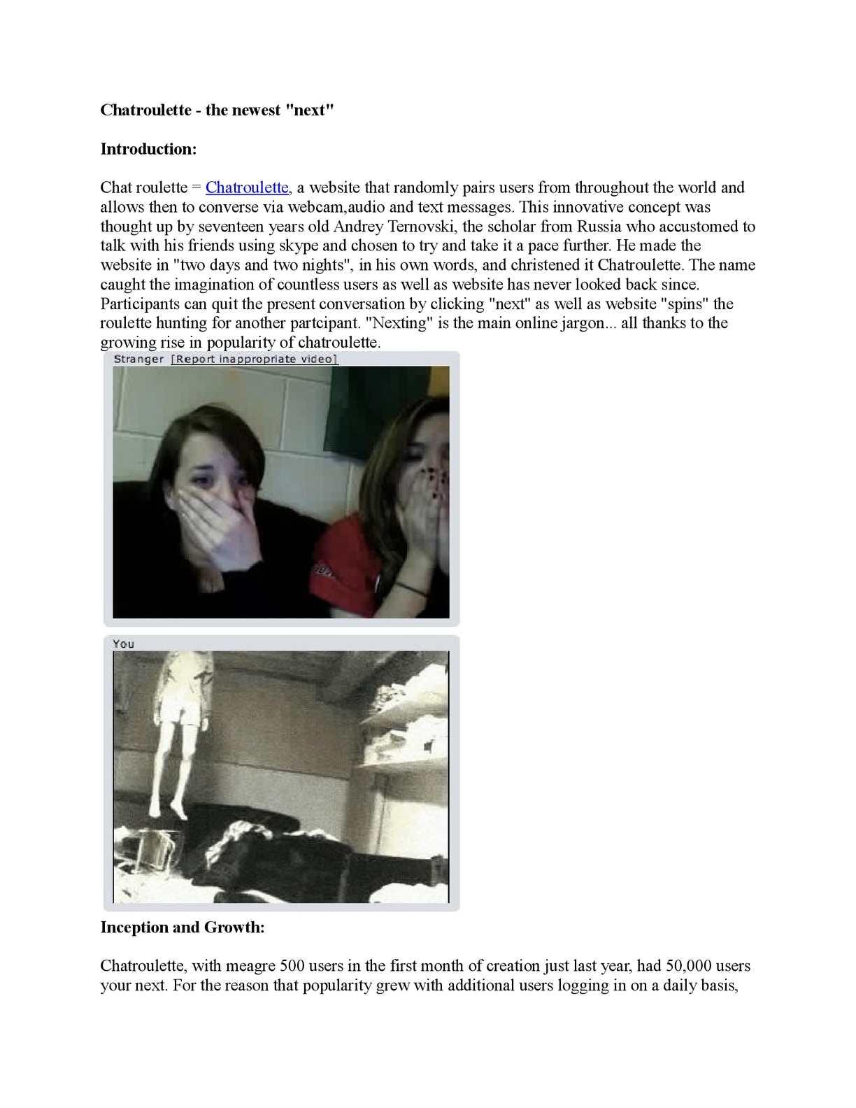 Webcam chat like chatroulette
