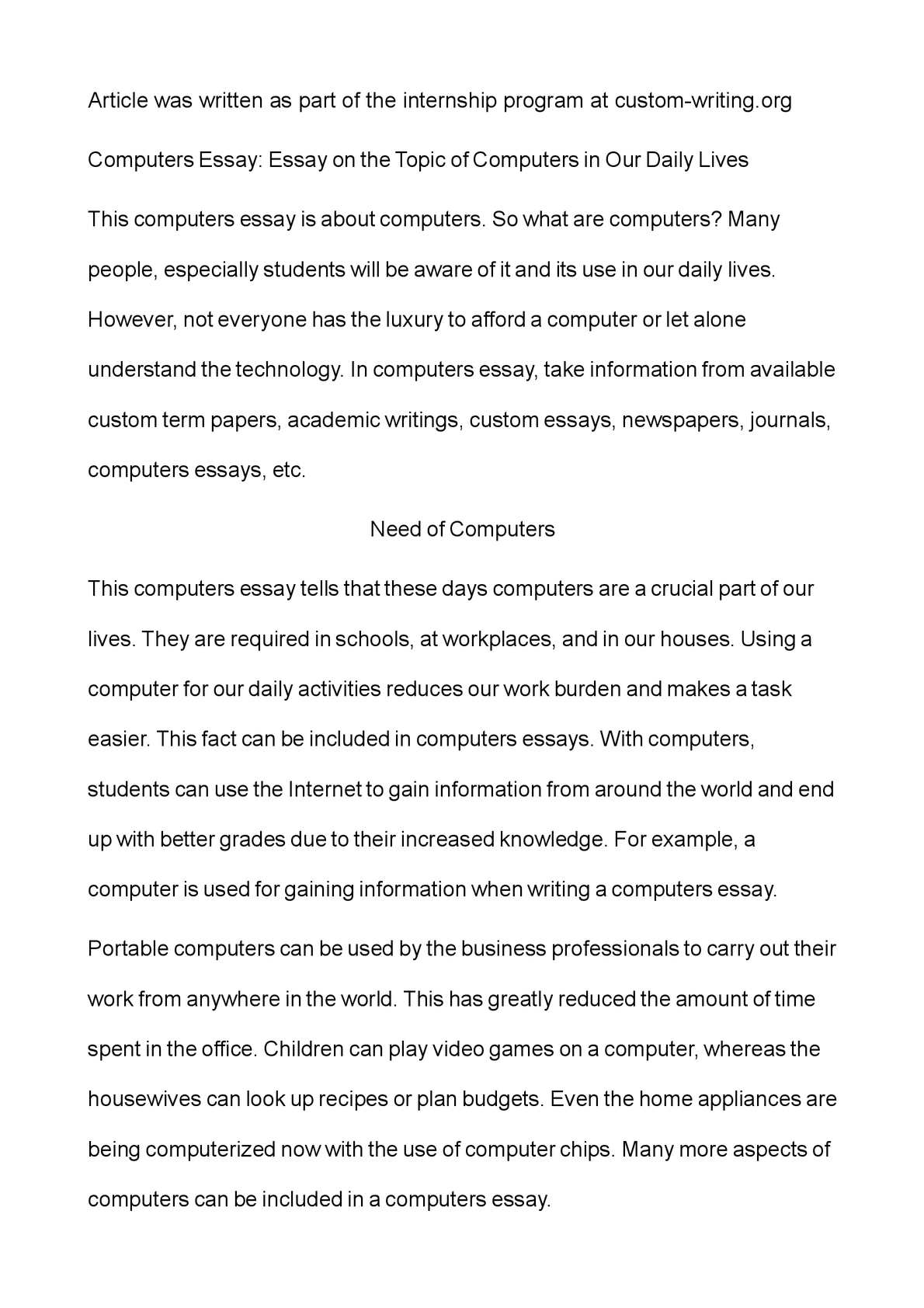 calamo   computers essay essay on the topic of computers in our  calamo   computers essay essay on the topic of computers in our daily  lives