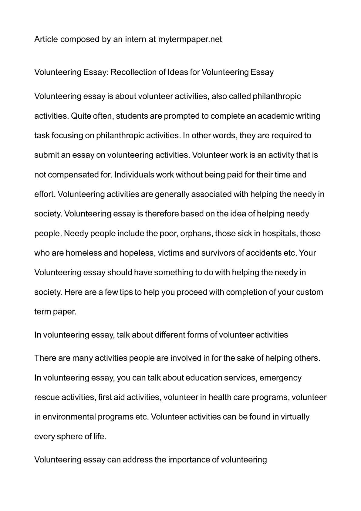 Volunteer Work Free Essay Example