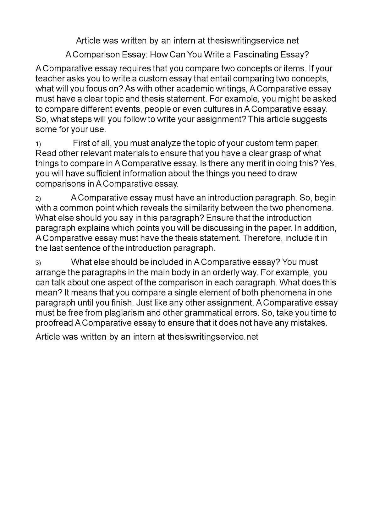 A comparasion essay resume university