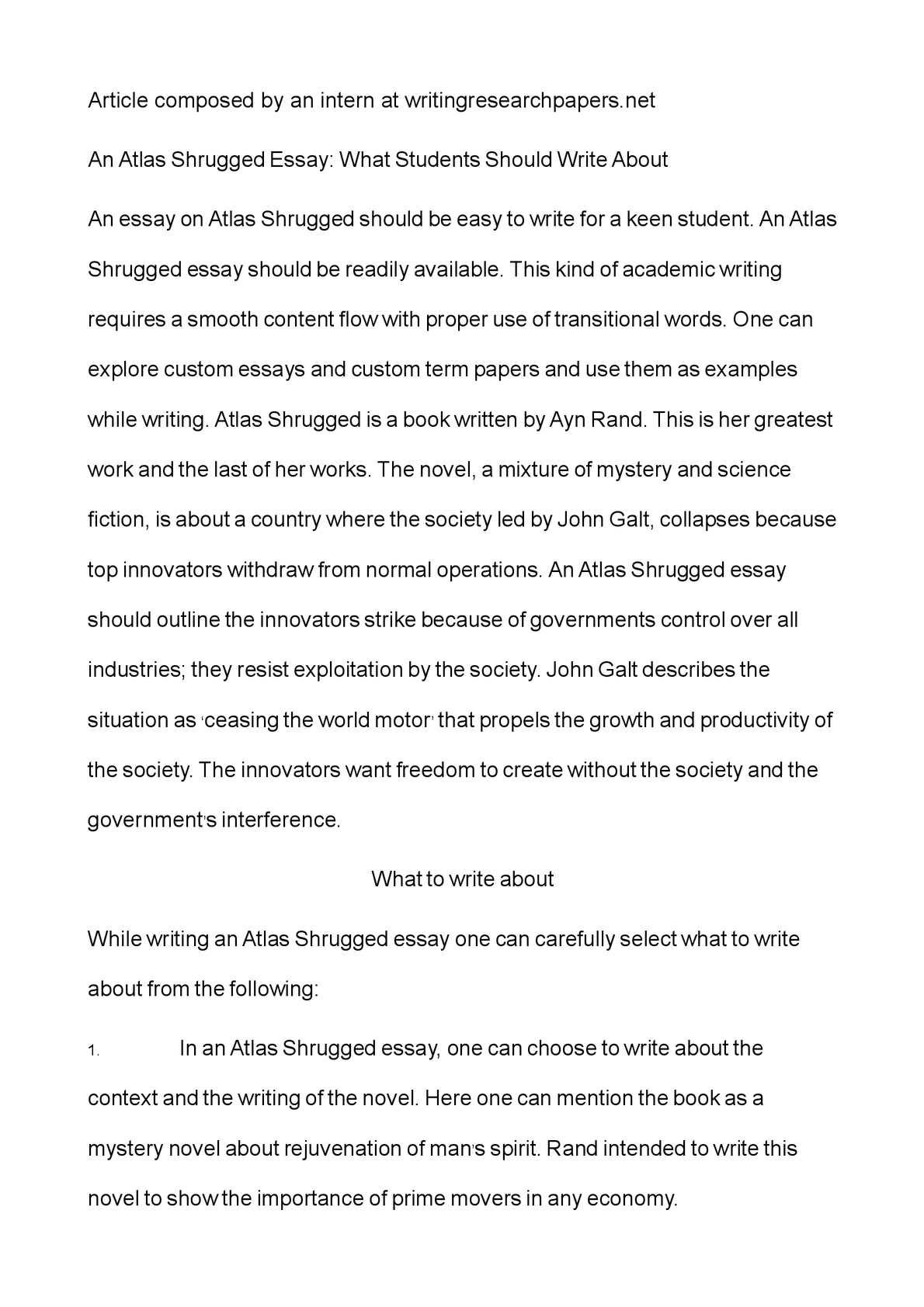 Heroism In Ayn Rand's Atlas Shrugged Essay - Words