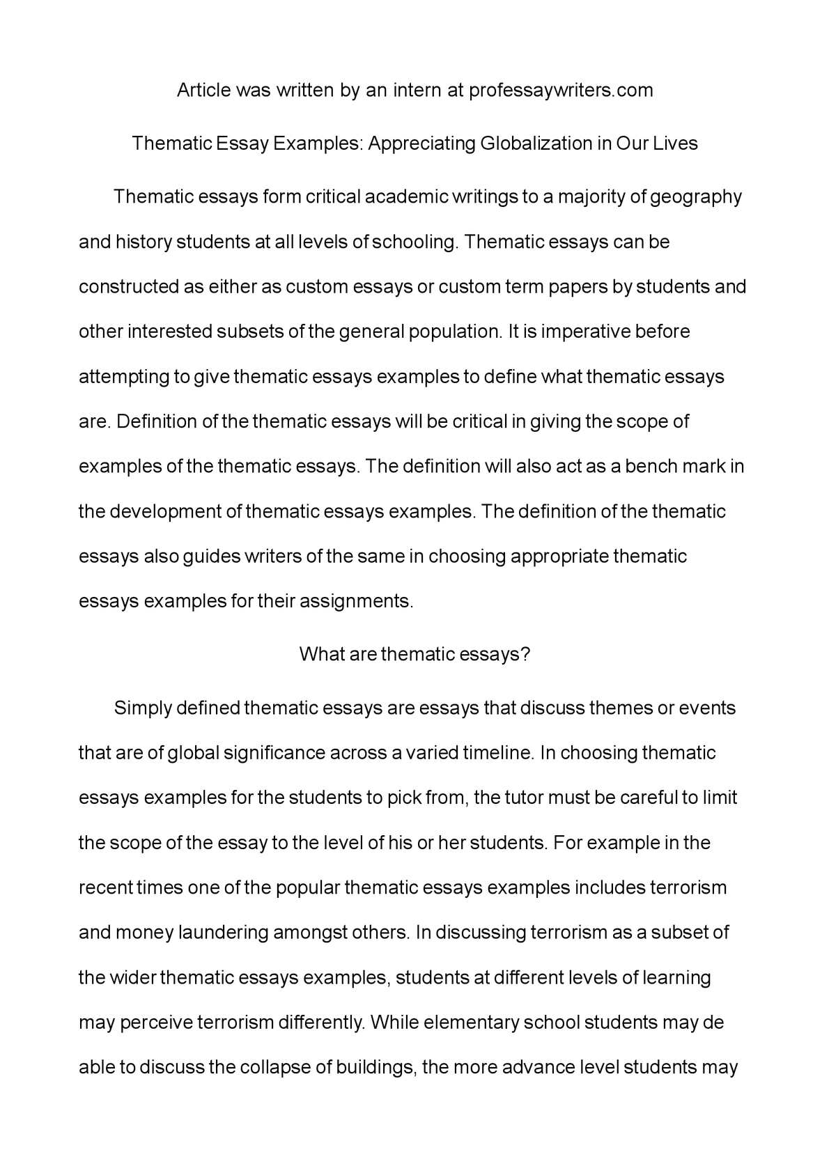 thematic essay examples appreciating globalization in  thematic essay examples appreciating globalization in our lives
