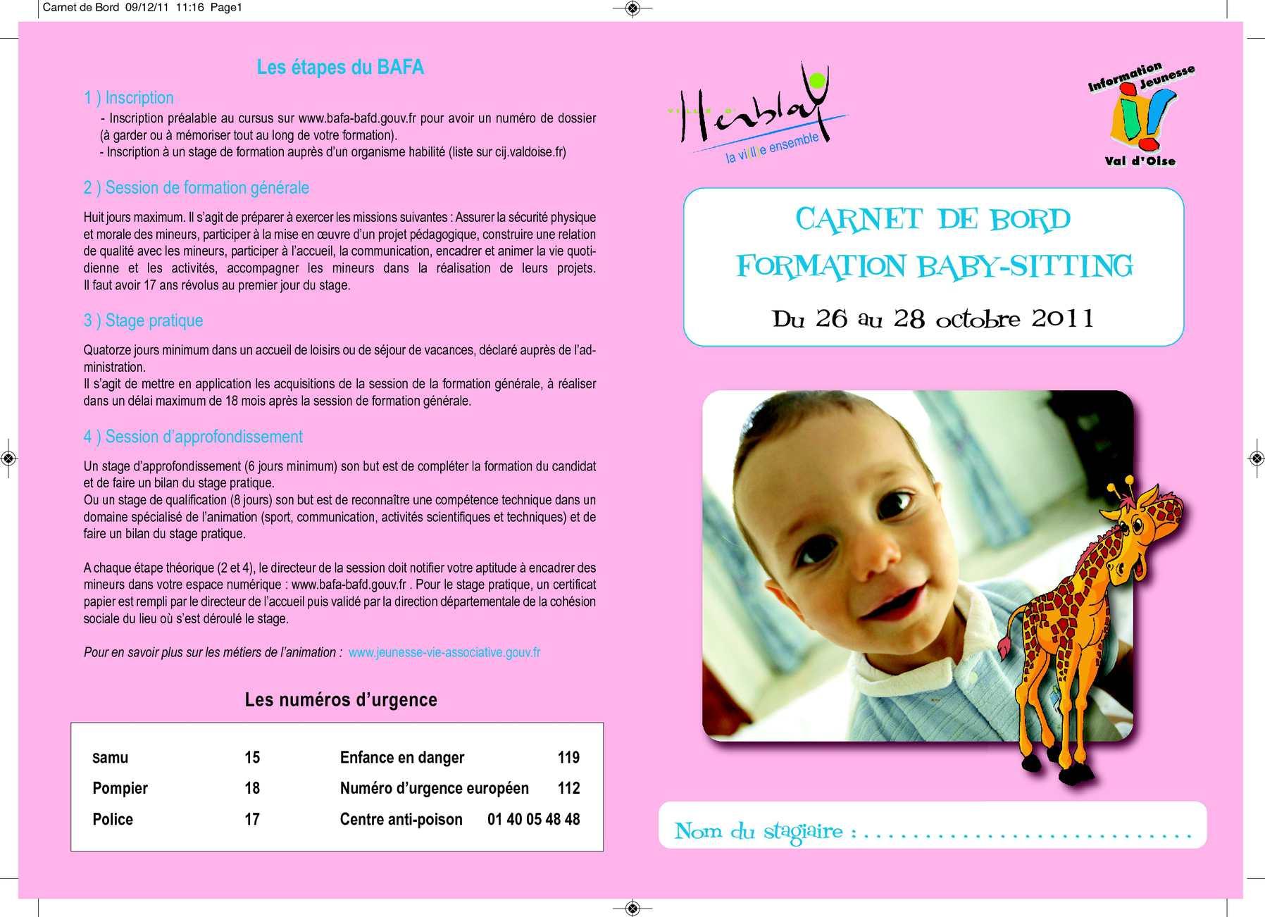Populaire Calaméo - Carnet de Bord Baby-sitting TD62