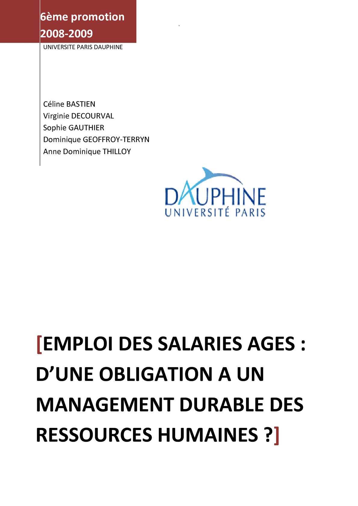 Calameo Emploi Des Salaries Ages D Une Obligation A Un