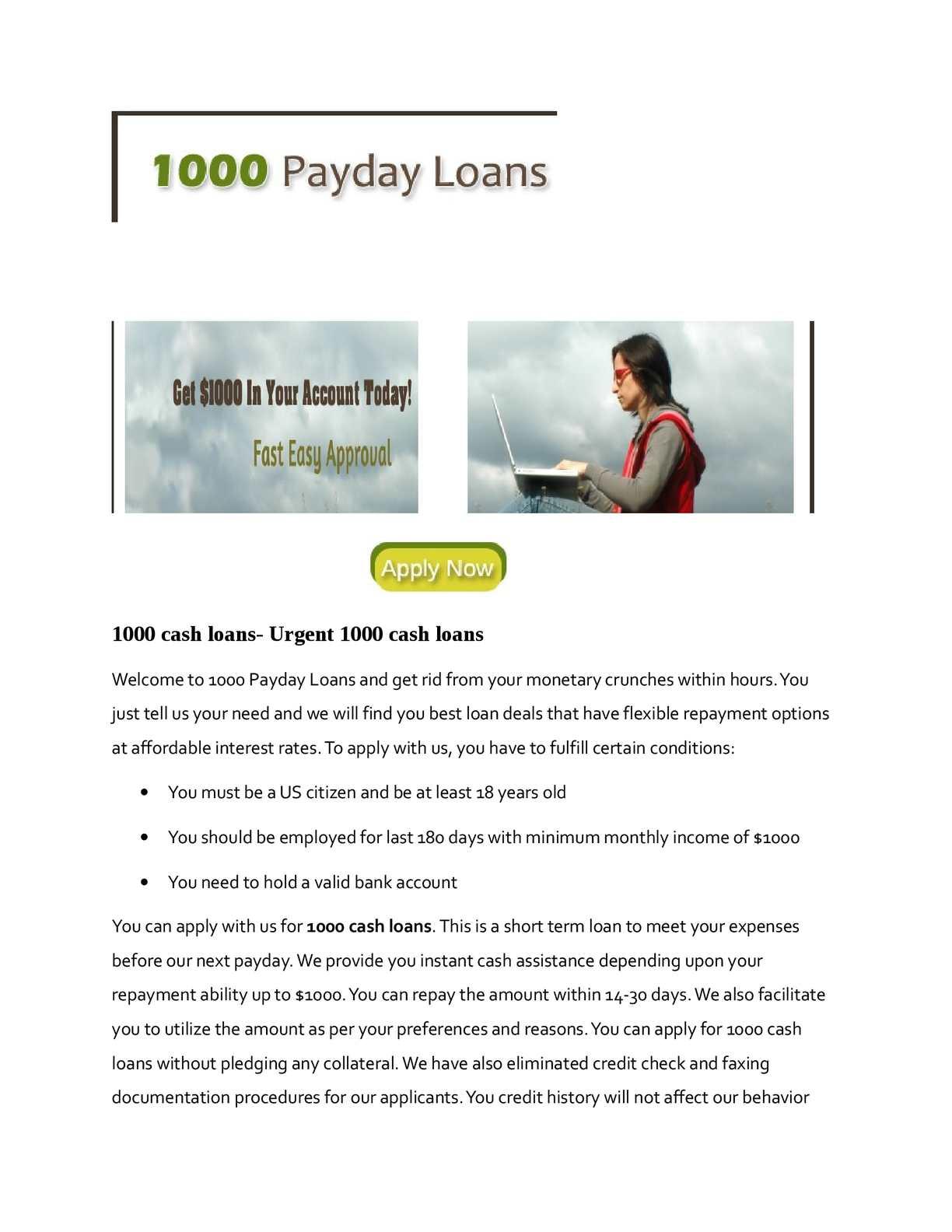 Calaméo - 1000 cash loans- Urgent 1000 cash loans