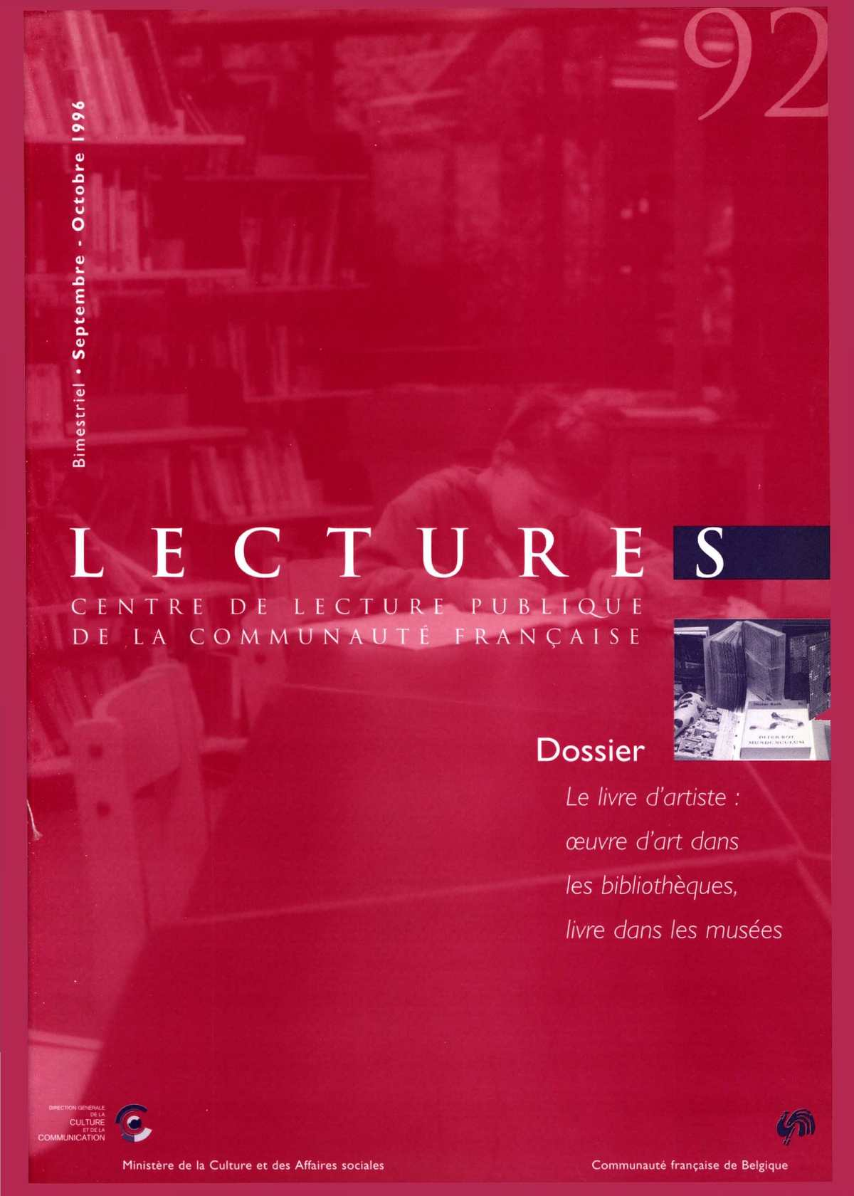77c8d129f3c908 Calaméo - Lectures, 92, septembre - octobre 1996