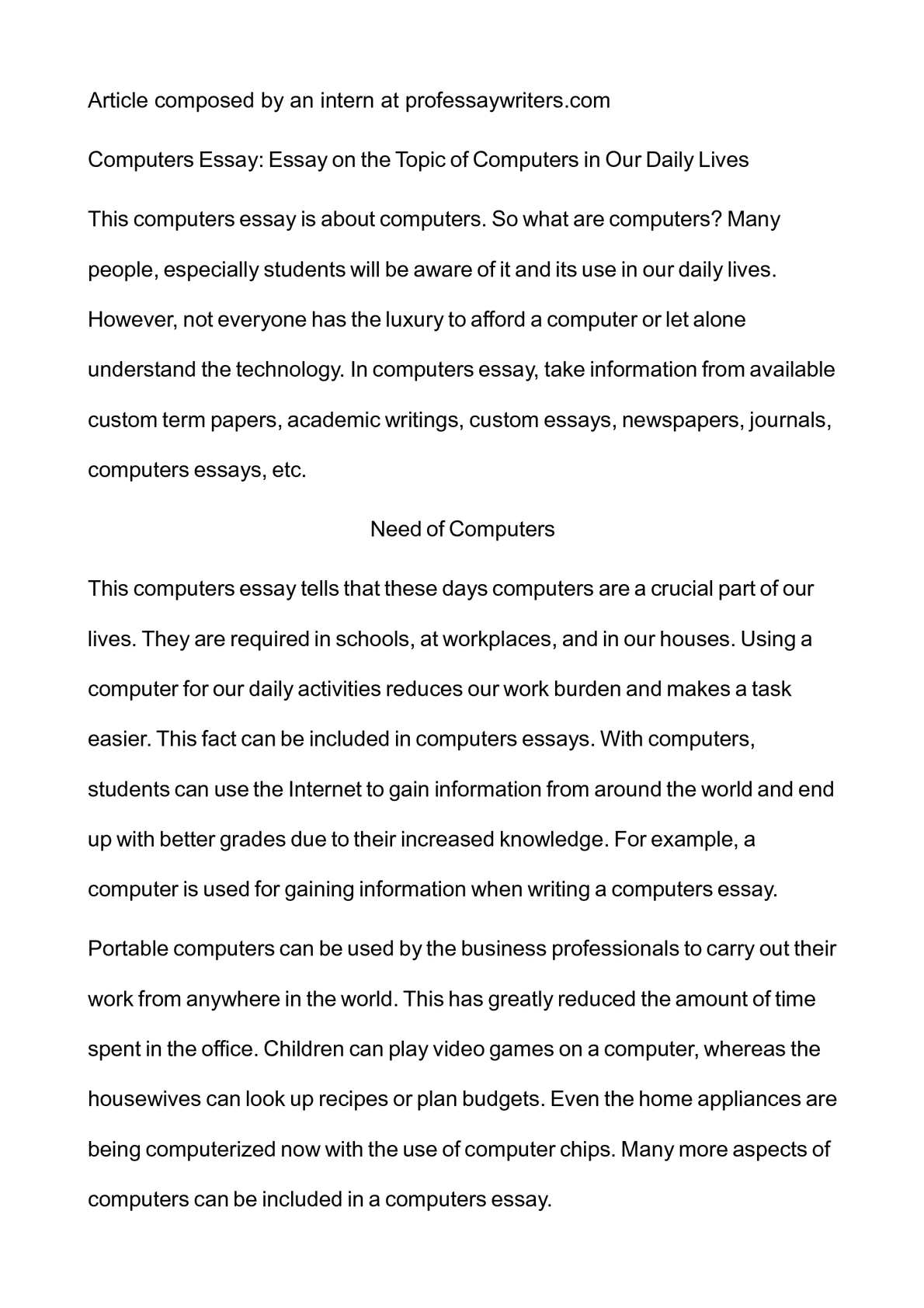 calamo   computers essay essay on the topic of computers in our  computers essay essay on the topic of computers in our daily lives