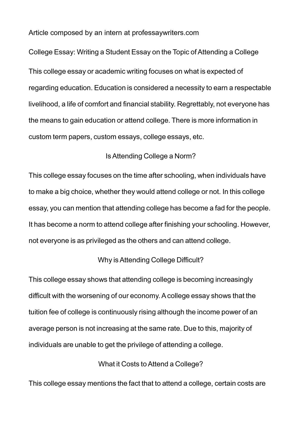 essays students college