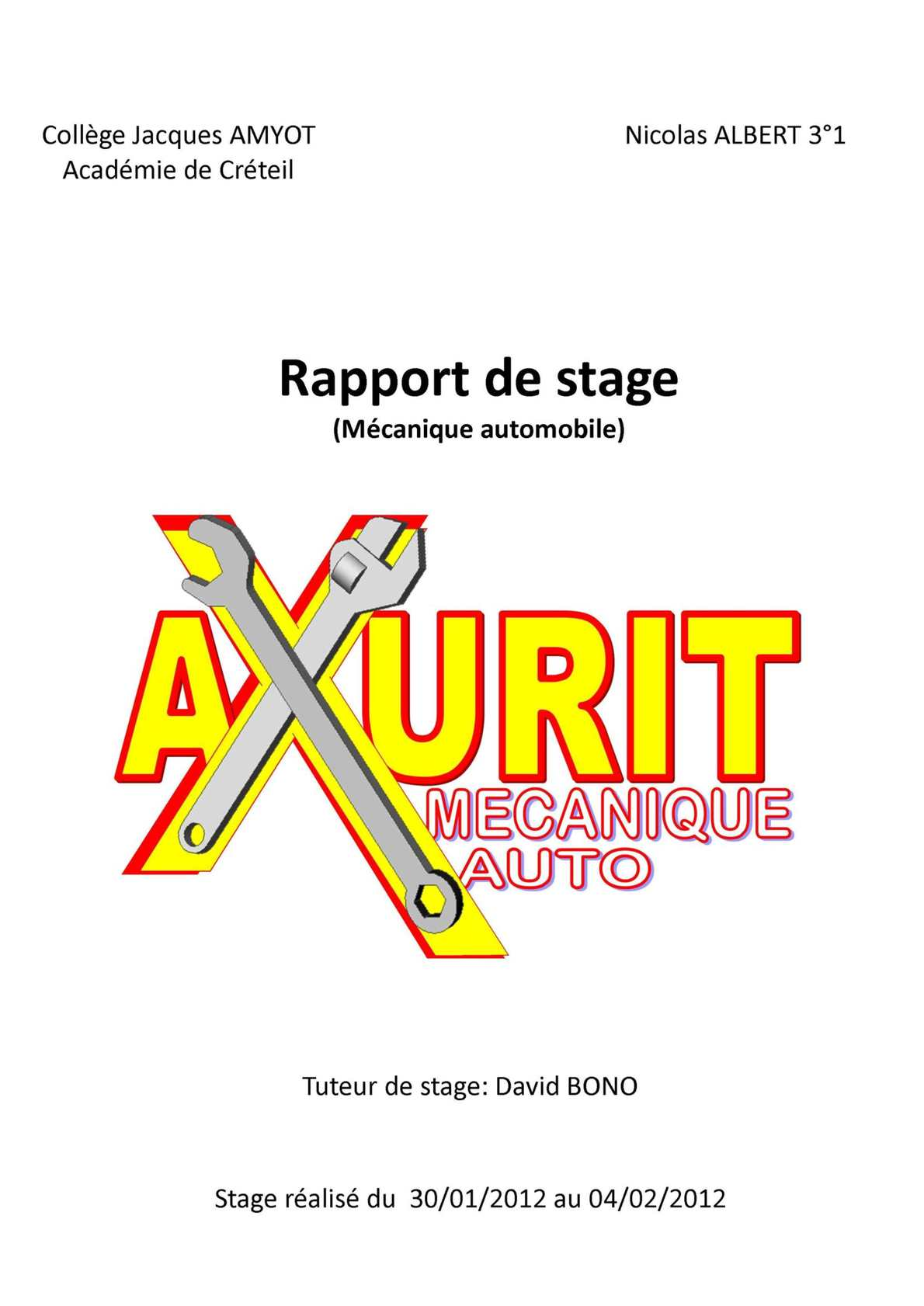 Calaméo Rapport De Stage Axurit