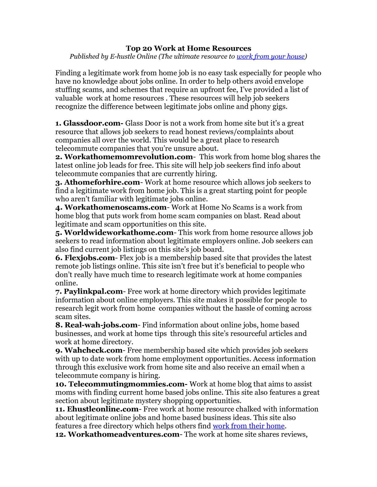 Calaméo - Top 20 Work at Home Websites to Obtain Information