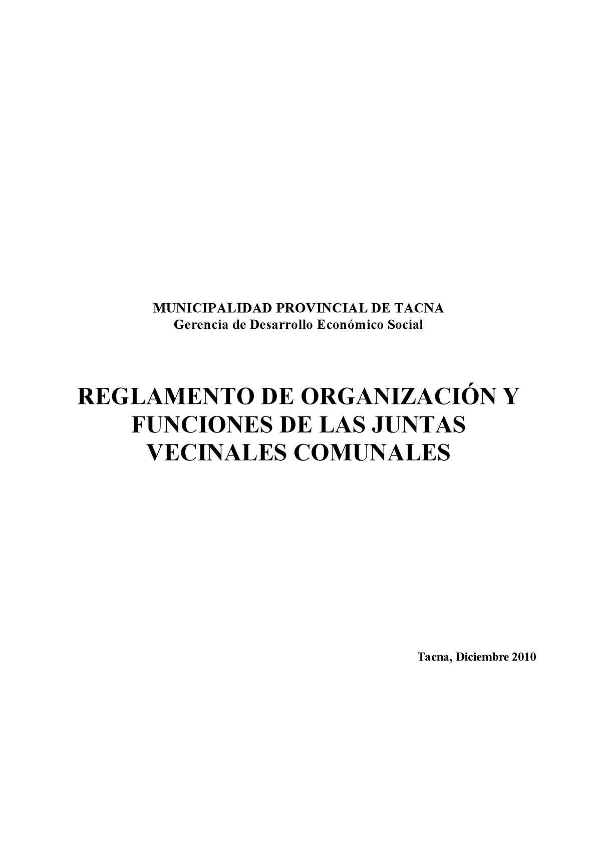Reglamento de Organizacion y Funciones de las Juntas Vecinales