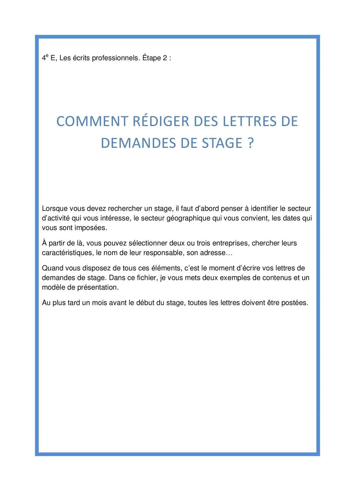 Calaméo Ecrire Des Lettres De Demande De Stage