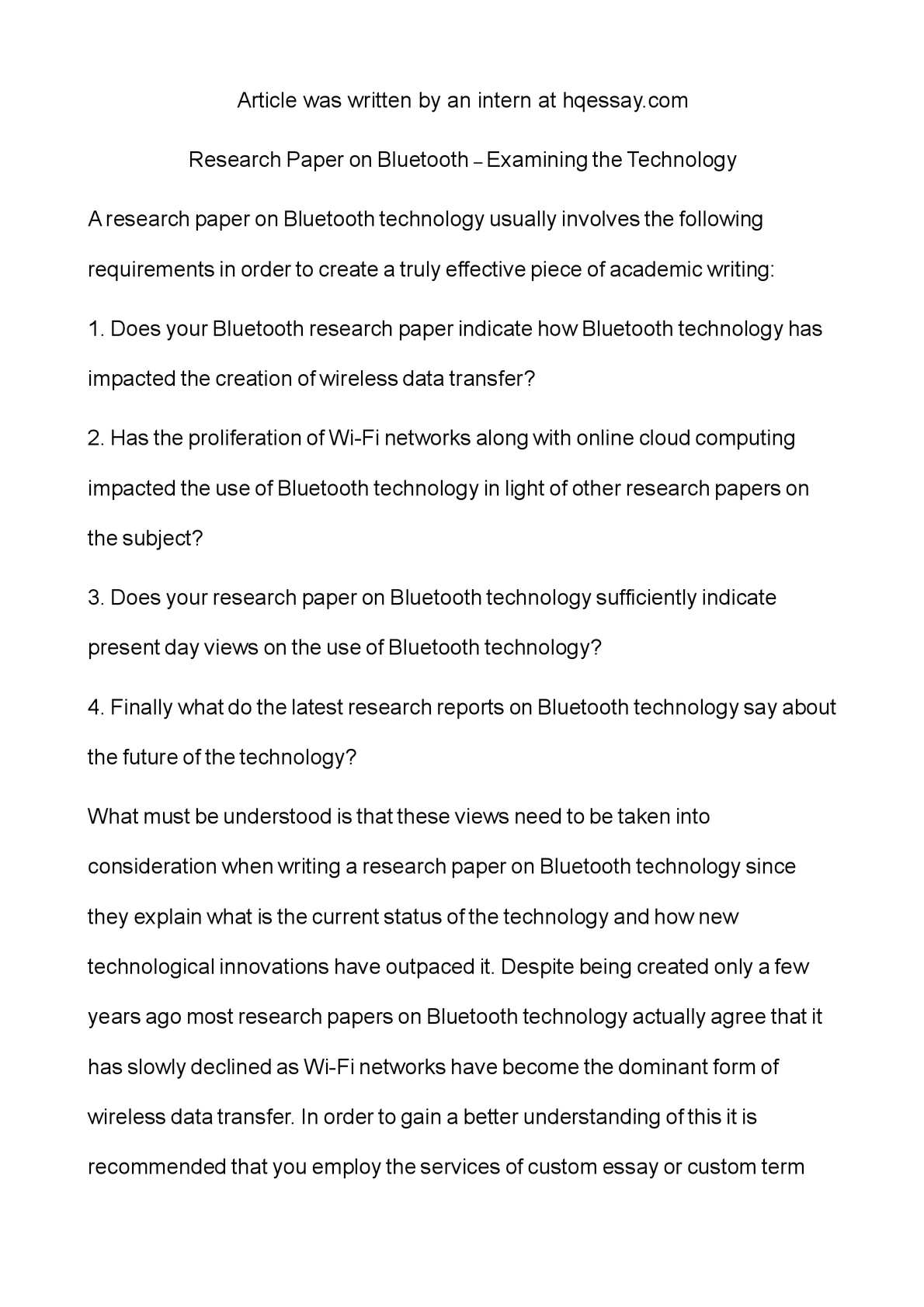 Bluetooth technology research paper college essay whitman