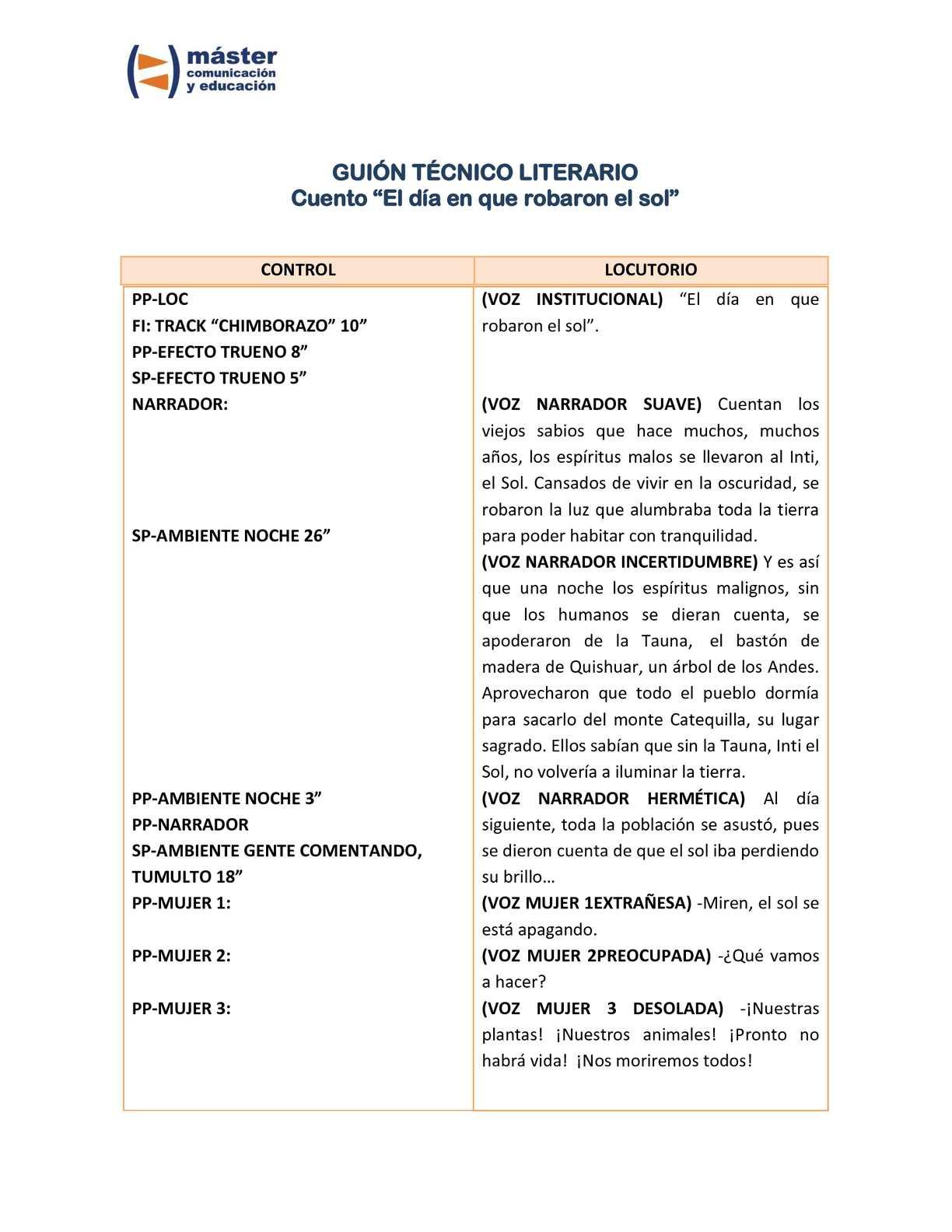 Calaméo - Guión tecnico literario de radio. Cuento infantil