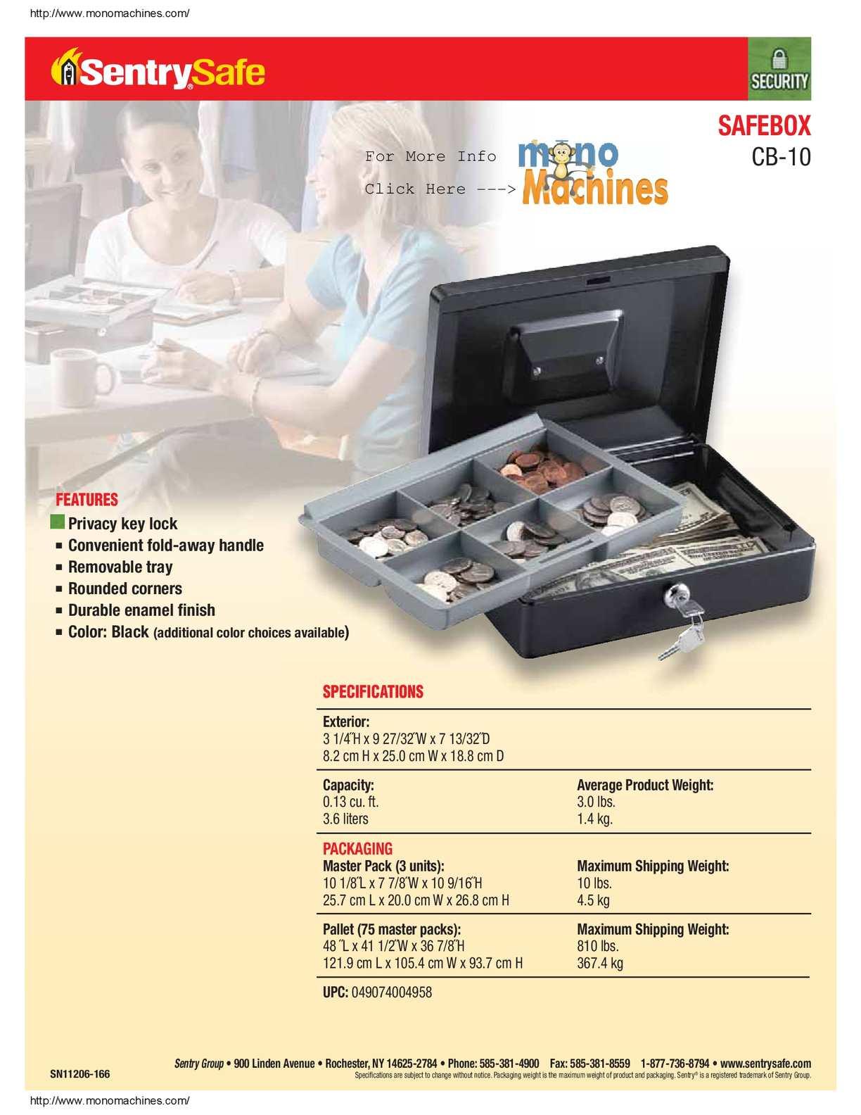 Calaméo - Sentry Safe CB-10 Cash Box Spec Sheet
