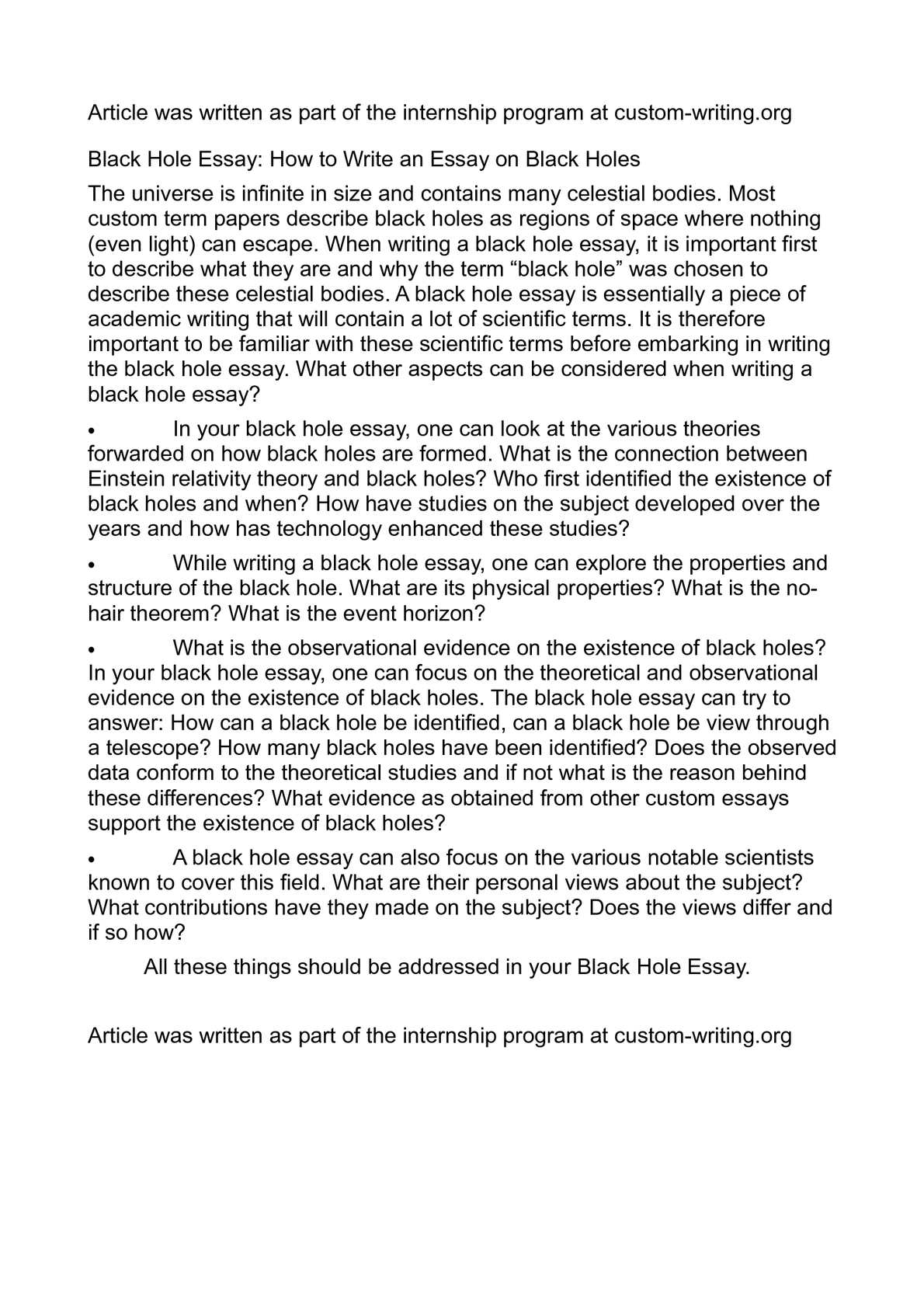 calamo   black hole essay how to write an essay on black holes