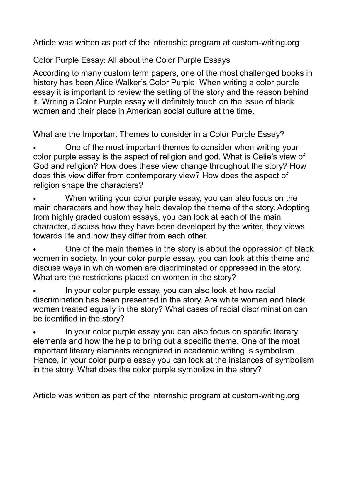Purple Essays Research Paper Example