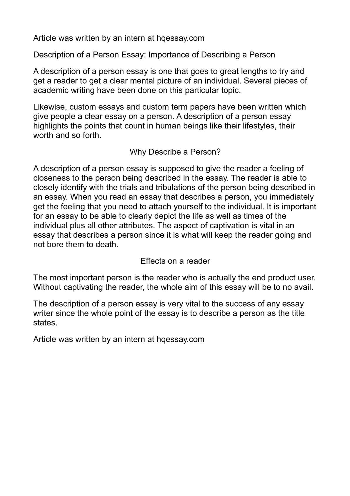 Writing Descriptive Essays About A Person, with Example, Outline | EliteEssayWriters
