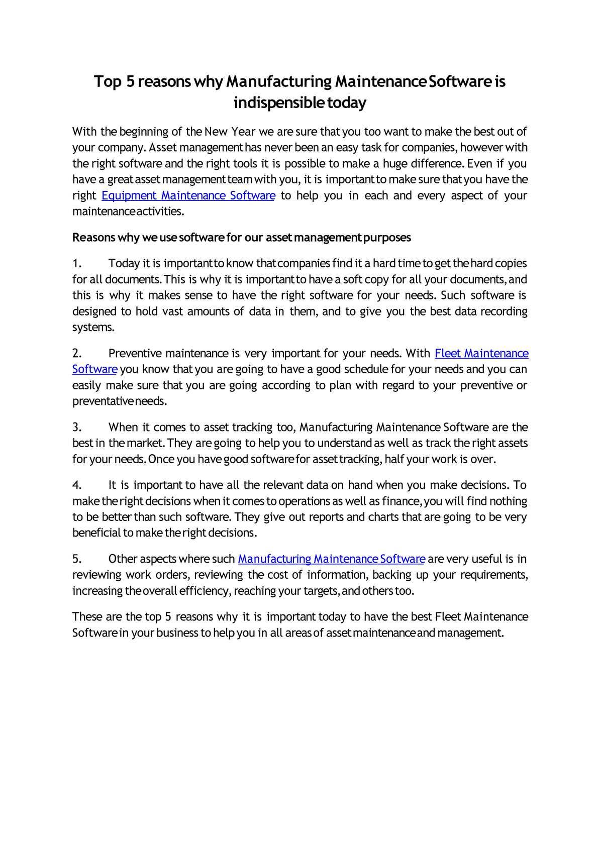 Calaméo - Top 5 reasons why Manufacturing Maintenance