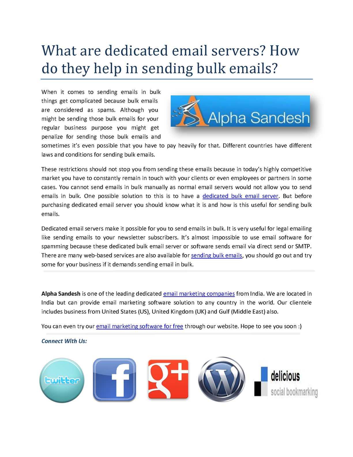 Calaméo - Dedicated Bulk Email Servers