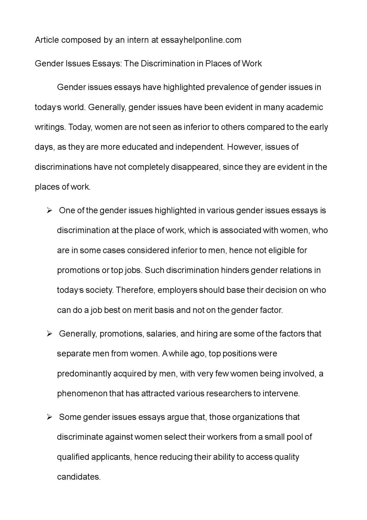 calamo   gender issues essays the discrimination in places of work