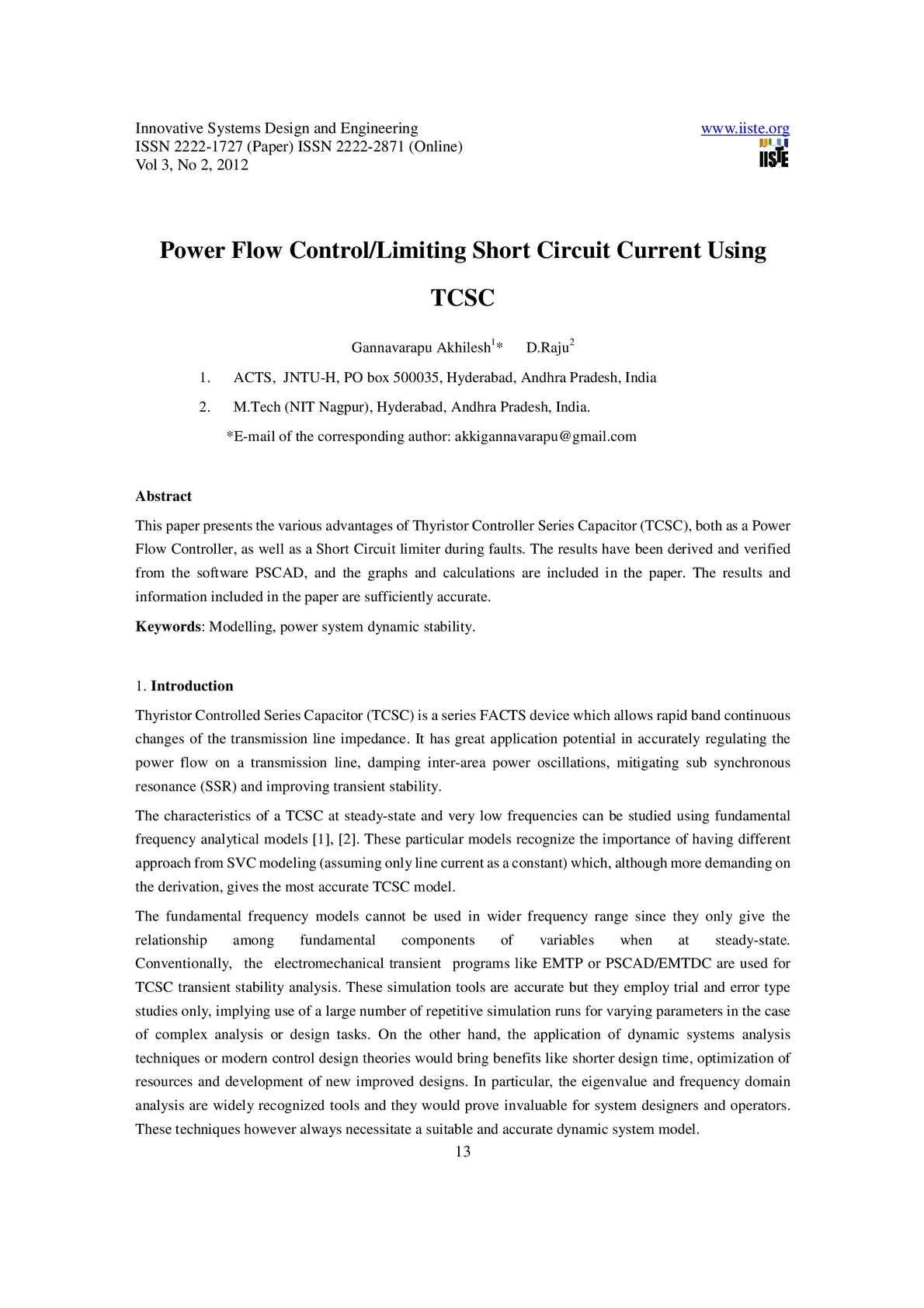 Calameo Power Flow Control Limiting Short Circuit Current Using Tcsc