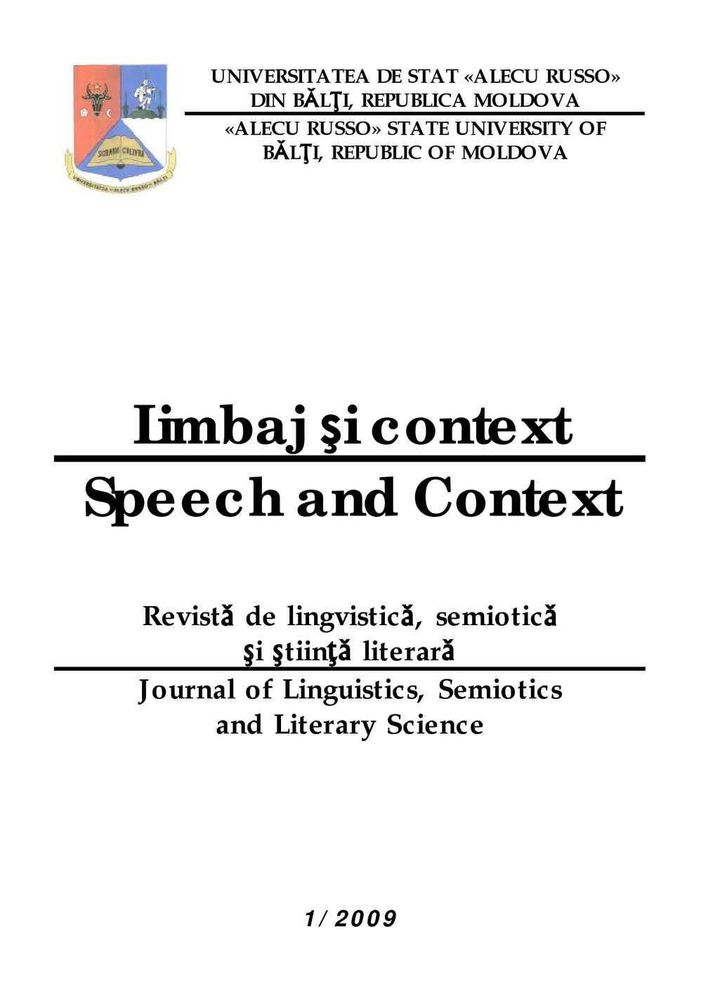 Calaméo Limbaj Si Context Speech And Context Anul I Vol12009