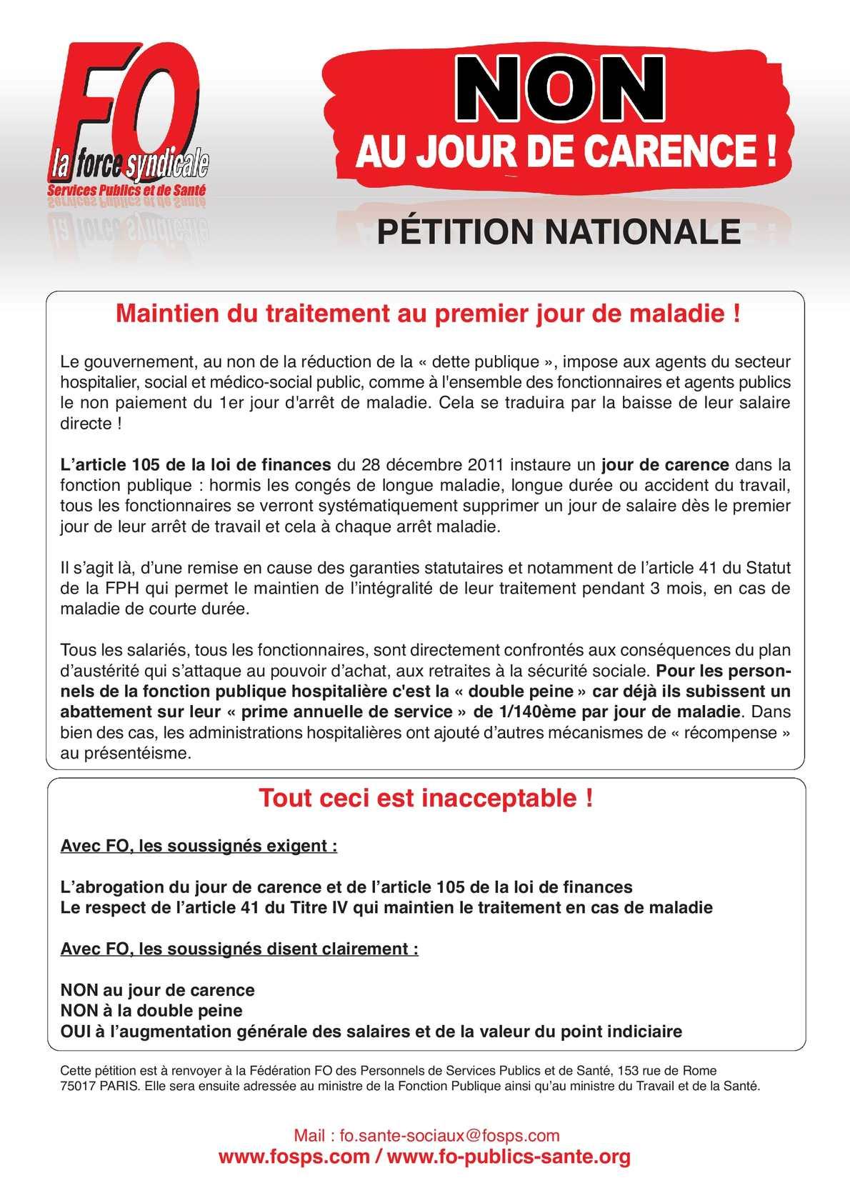 Calameo Petition Fo Non Au Jour De Carence