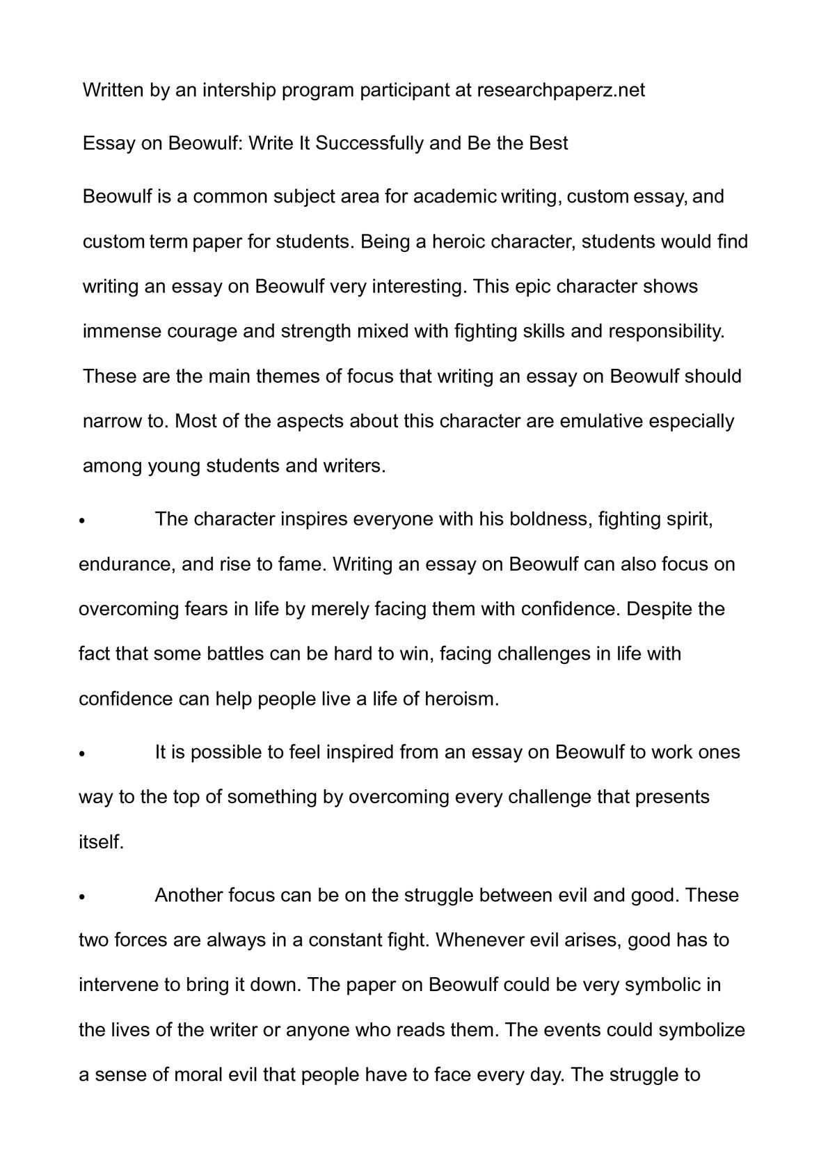character and success essay