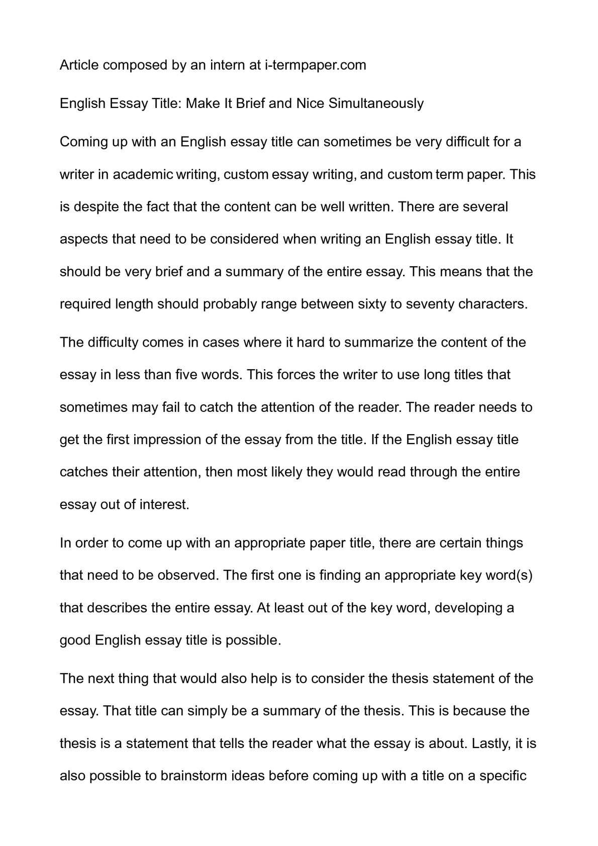Example Of An English Essay  The Yellow Wallpaper Essay Topics also Sample Essay Paper Calamo  English Essay Title Make It Brief And Nice  Thesis Of A Compare And Contrast Essay