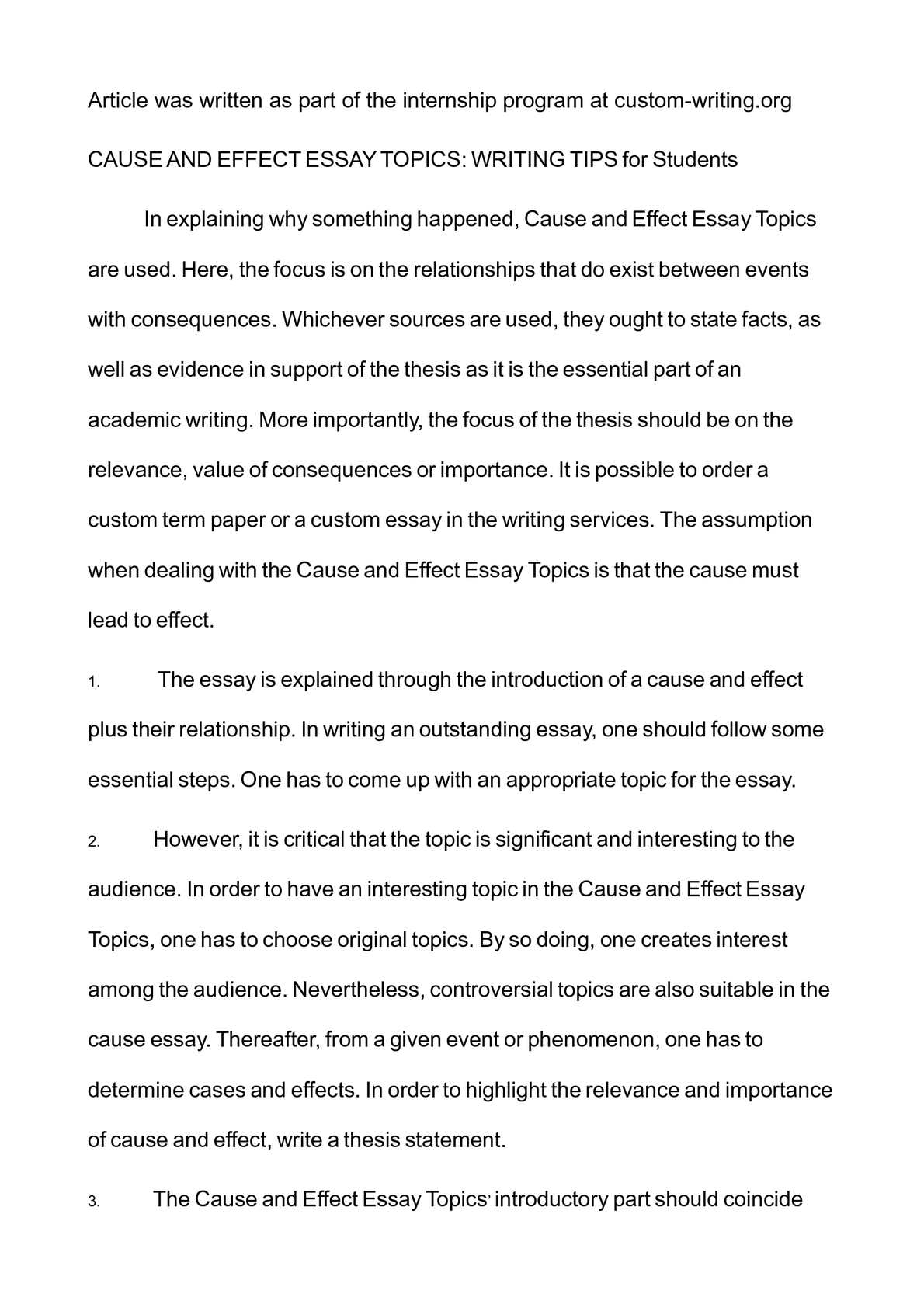 Examples Of Essay Proposals  How To Start A Science Essay also Samples Of Persuasive Essays For High School Students Calamo   Cause And Effect Essay Topics Writing Tips For  What Is A Thesis Statement In An Essay Examples