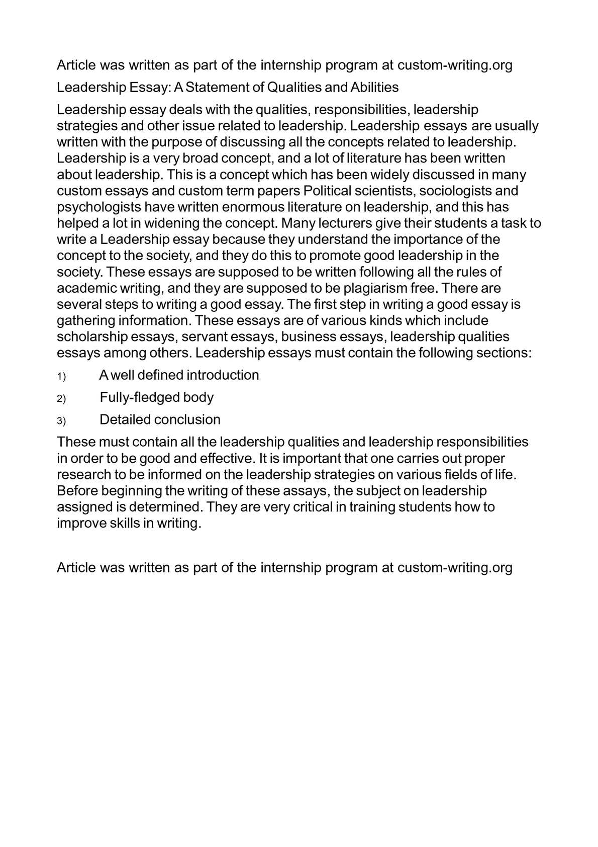 Essay good leader credit and collections sample resume