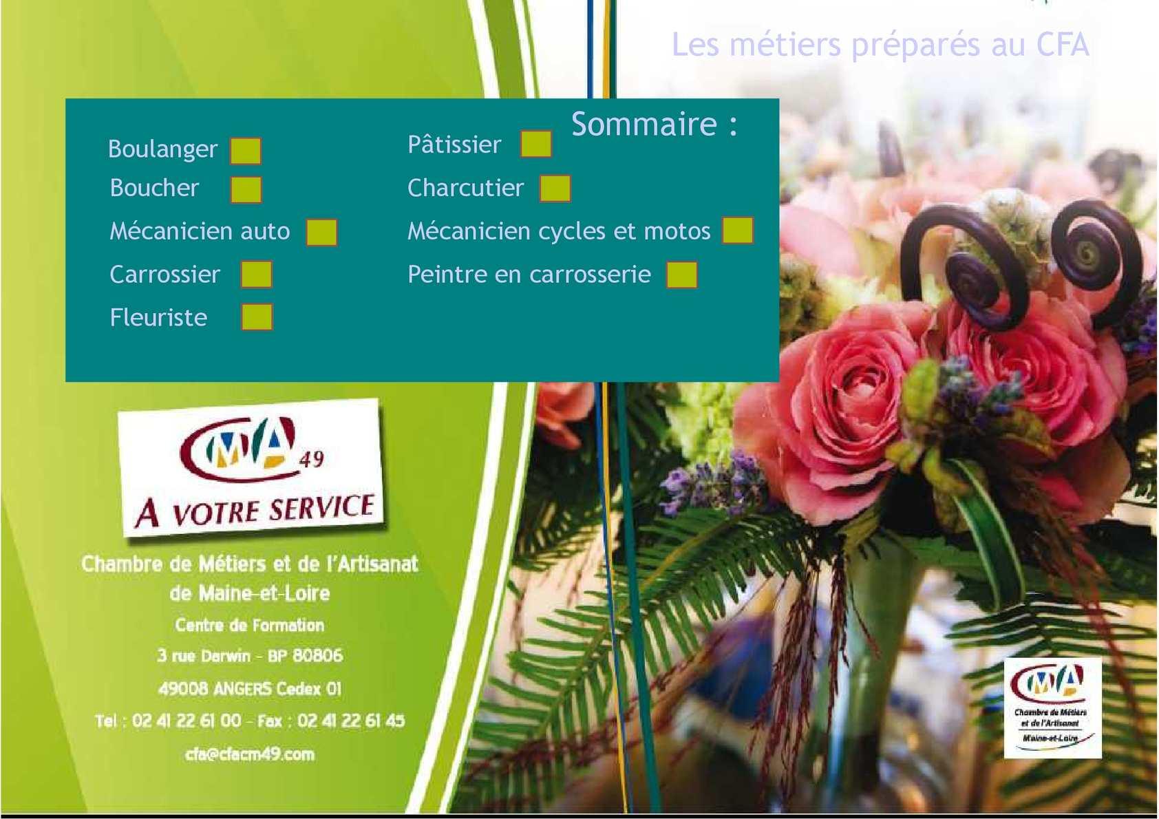Calam o catalogue de formation cfa chambre des m tiers - Chambre des metiers apprentissage ...