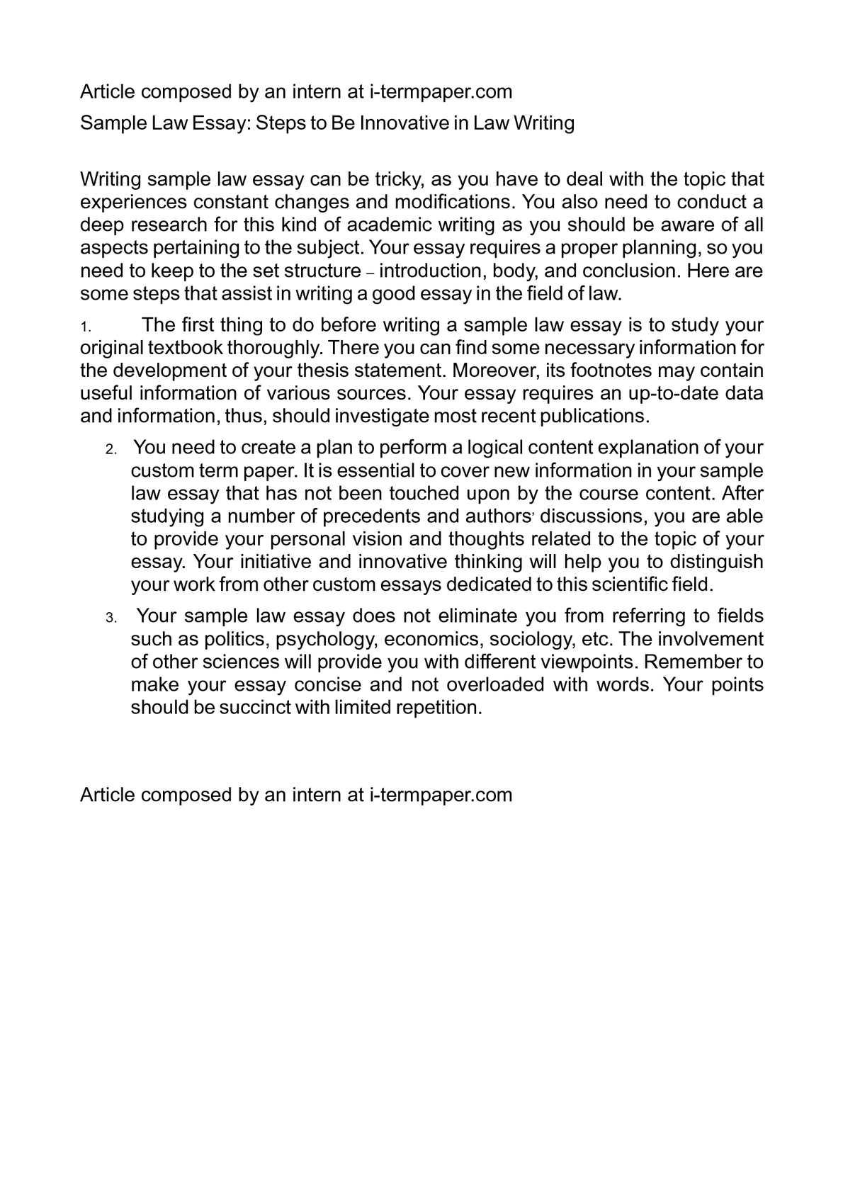 essay law sample