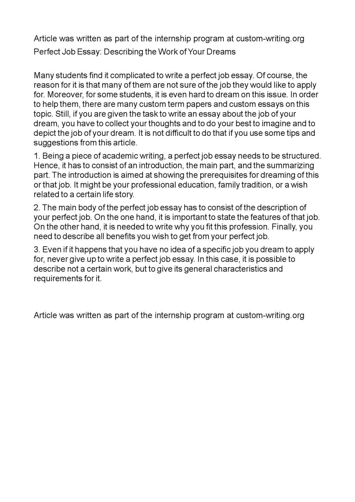 calam atilde copy o perfect job essay describing the work of your dreams