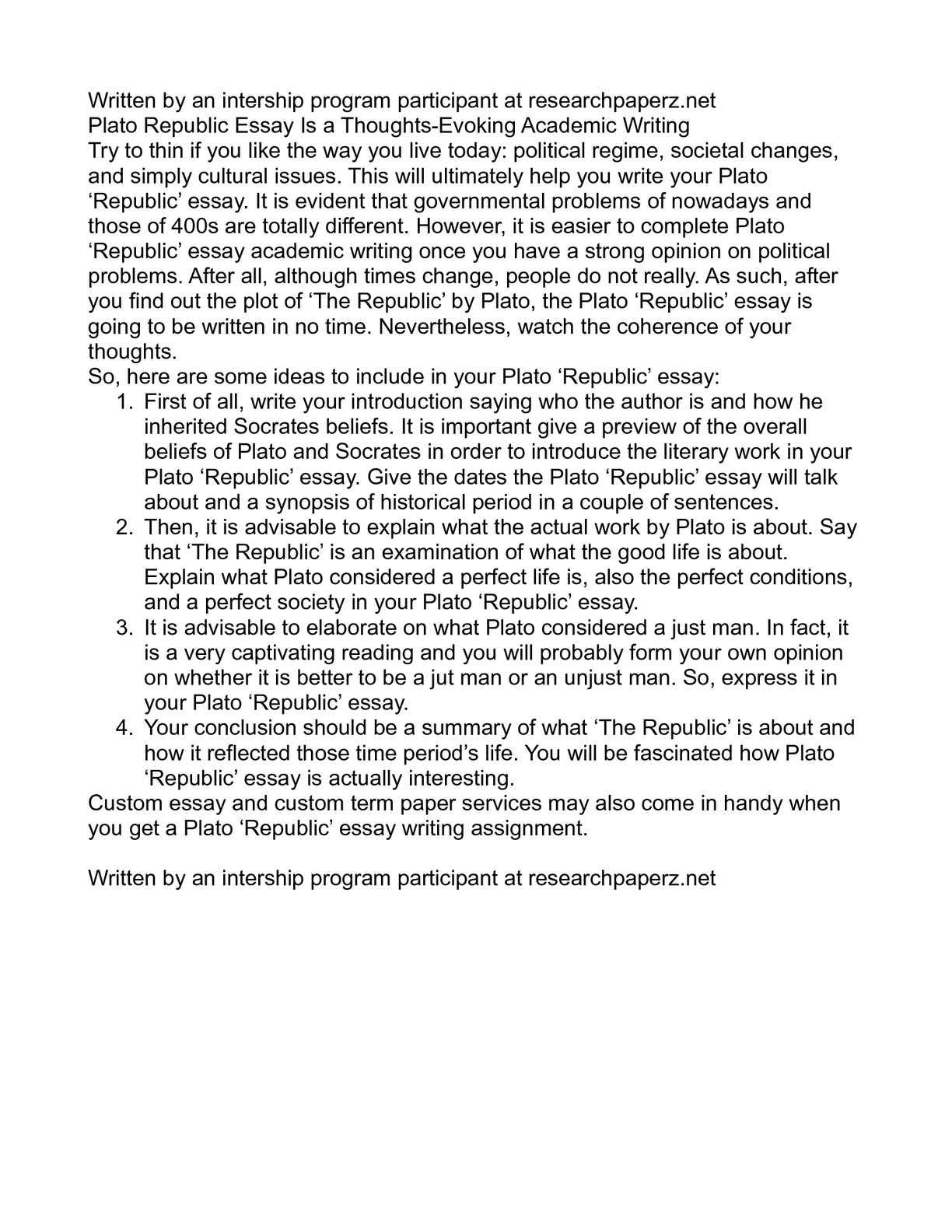 Platos writings essay