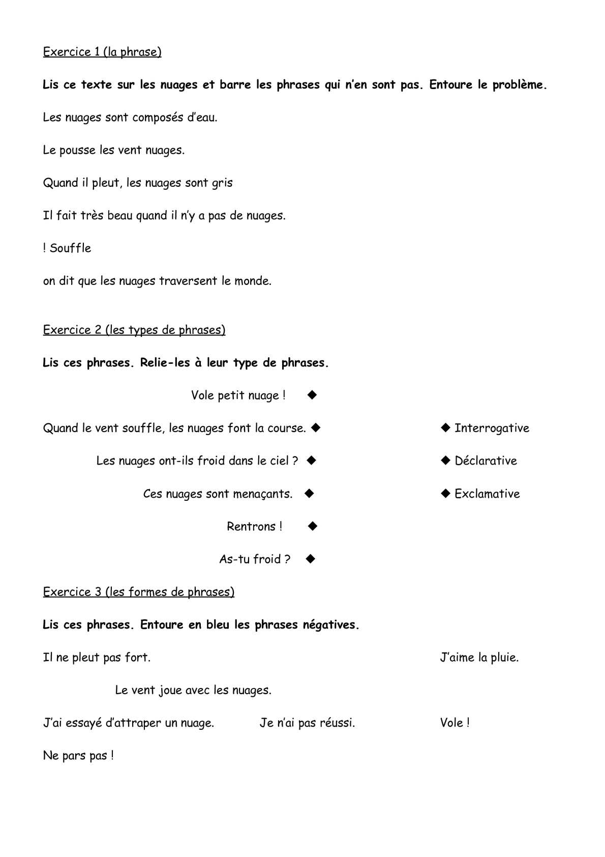 Calameo Cycle 2 Grammaire Types De Phrases Exercice Nuages