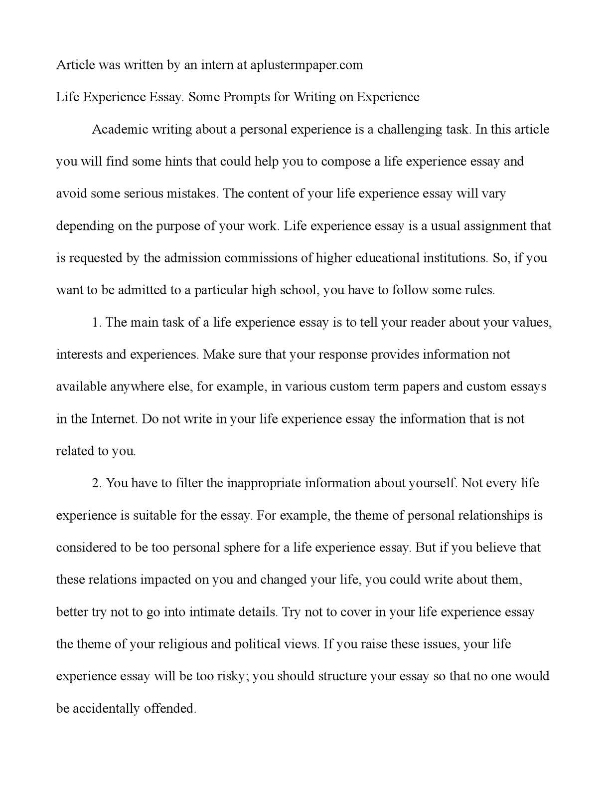 a challenging experience essay