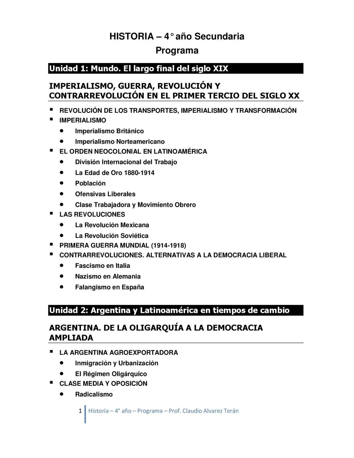 Programa de Historia 4° año secundaria