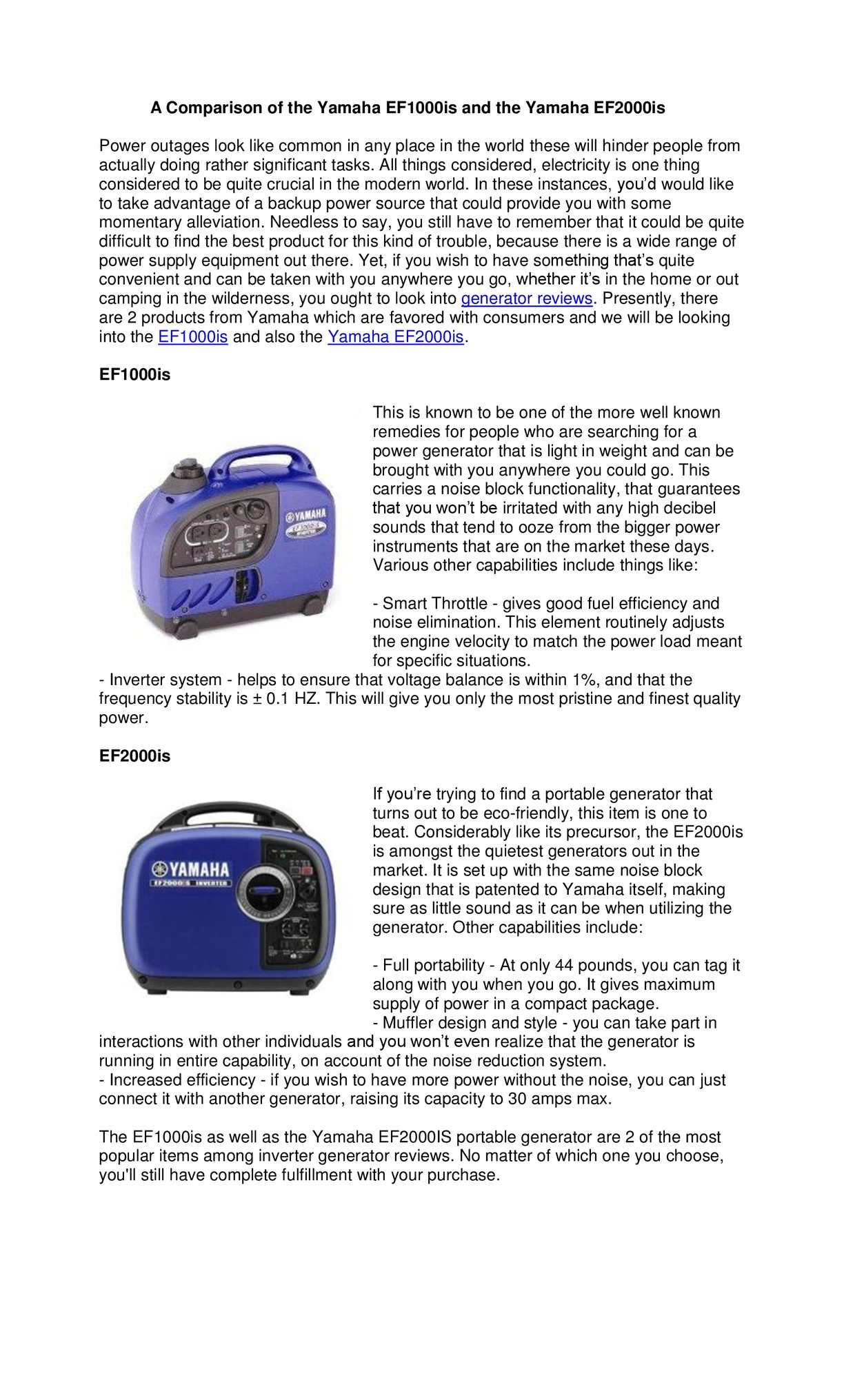Calaméo - A Comparison of the Yamaha EF1000is and the Yamaha EF2000is