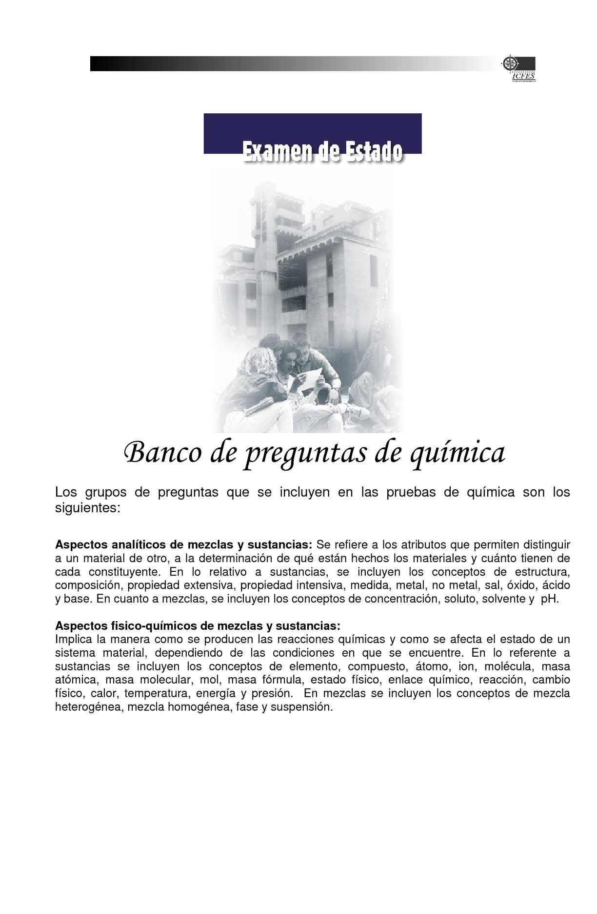 Calameo Banco De Preguntas Examen Icfes Quimica