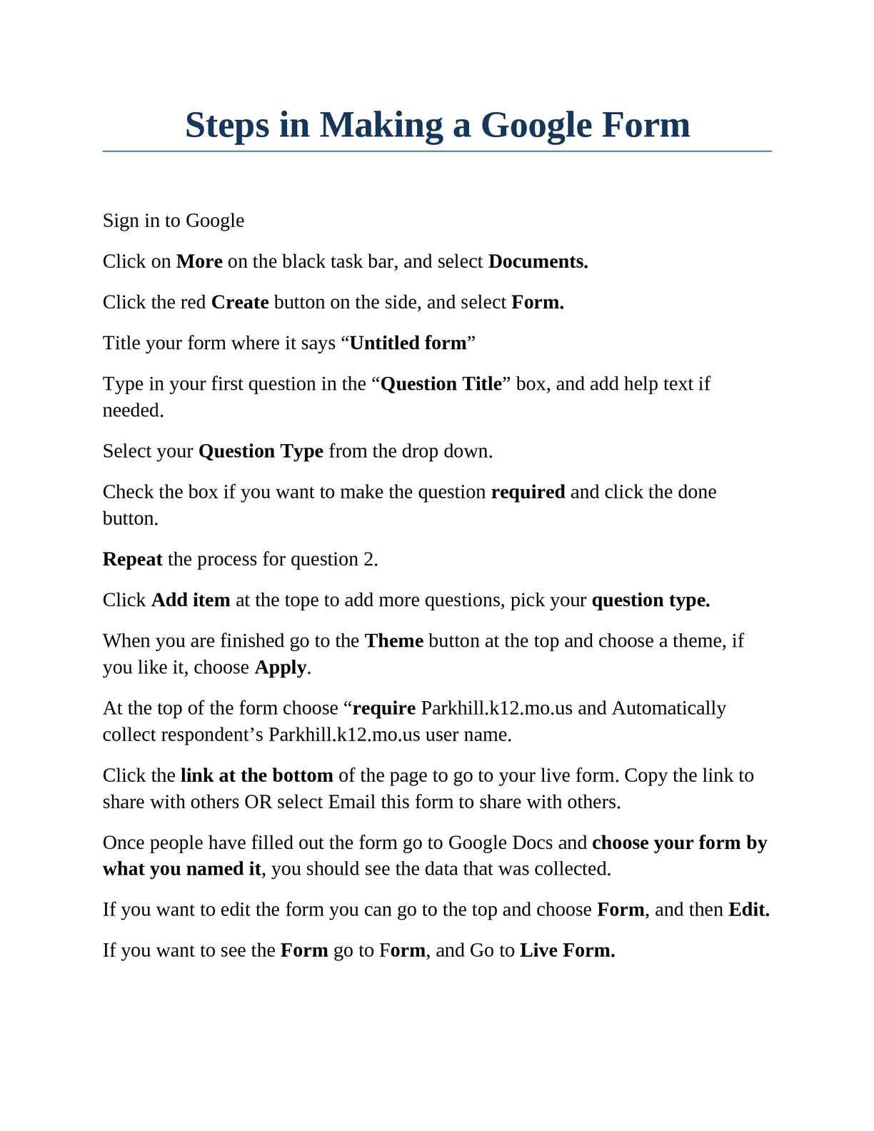 Calaméo - Google Forms at Park Hill!