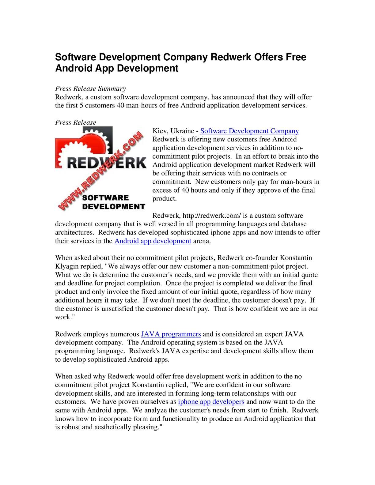 Calaméo - Software Development Company Redwerk Offers Free Android